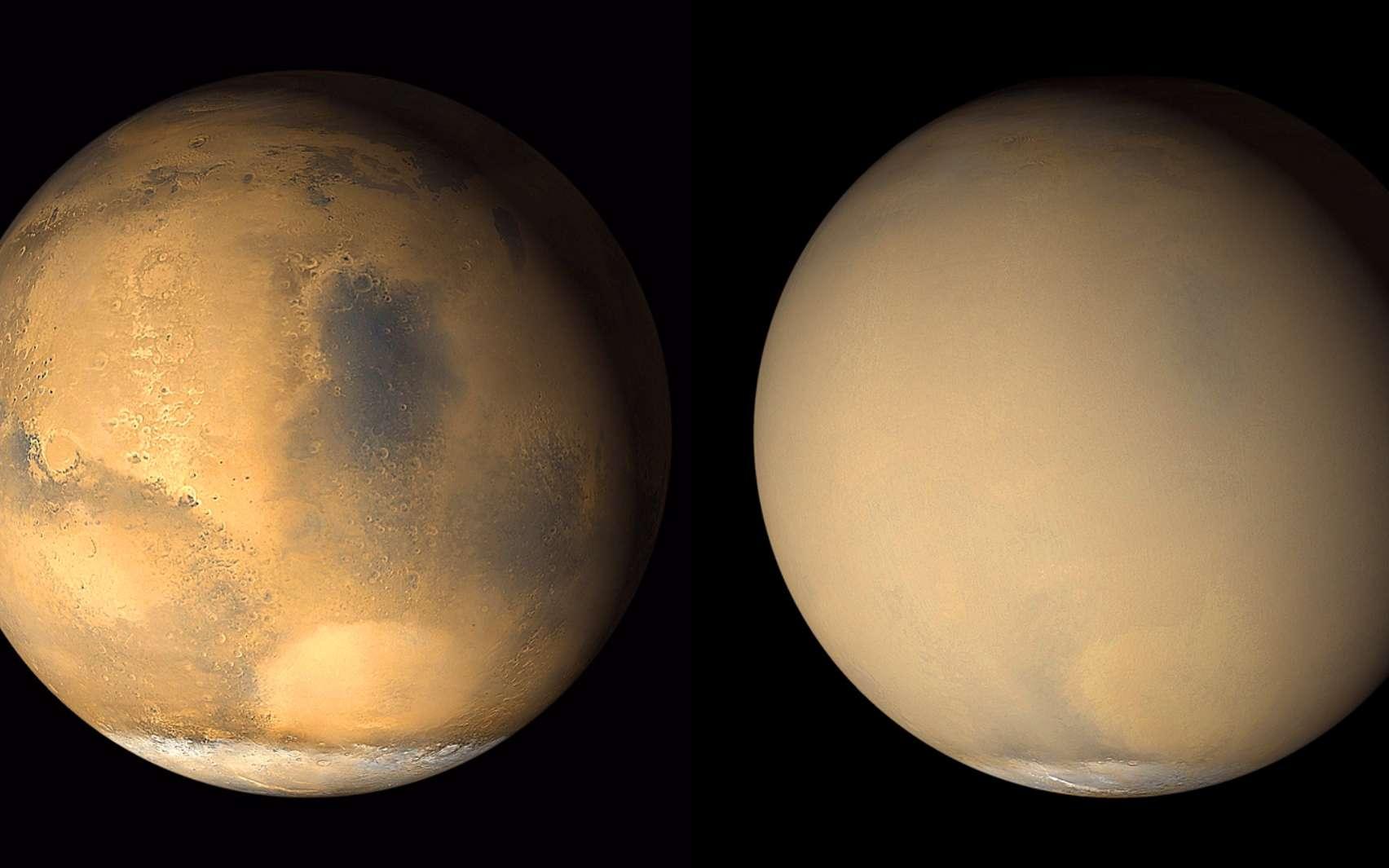 Deux images prises en 2001 par Mars Global Surveyor montrent un changement dramatique dans l'apparence de la Planète rouge lorsqu'une tempête de poussière initiée dans l'hémisphère sud de Mars est devenue planétaire. À gauche, une image à partir de fin juin 2001 révèle des conditions claires sur une grande partie de la planète, avec une tempête de poussière se produisant dans le bassin Hellas (lumineux caractéristique ovale) près du bord de la calotte polaire sud. À droite, une image en juillet 2001 montre la planète presque complètement enveloppée par la tempête de poussière qui s'étend à des altitudes de plus de 60 kilomètres. © Nasa