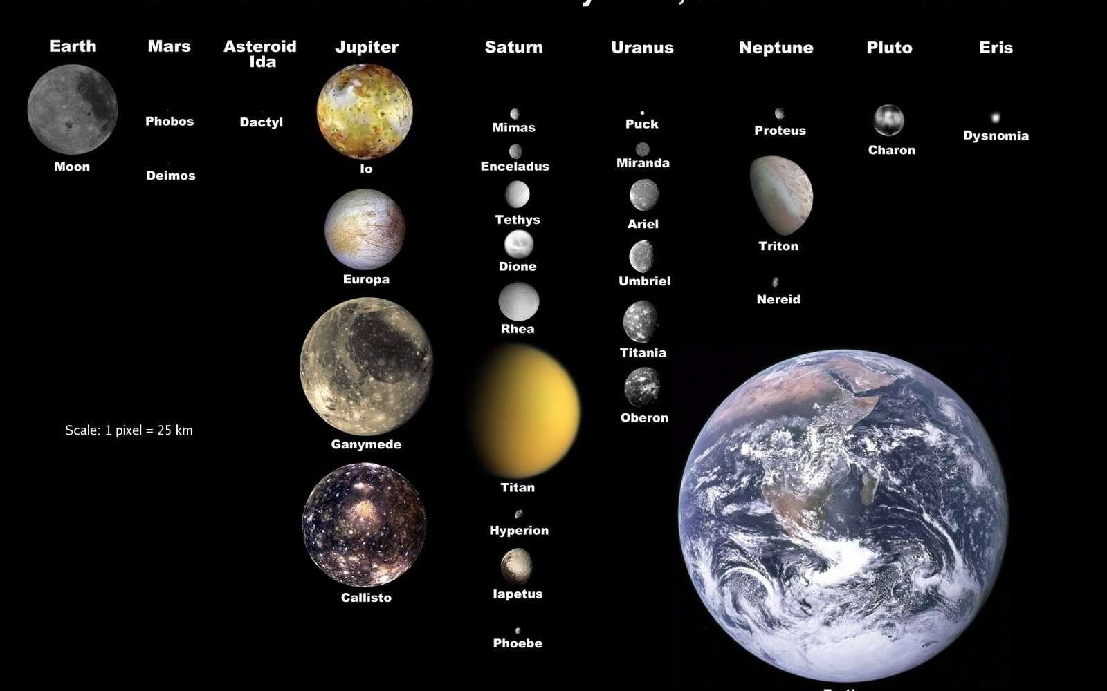 La taille de la Terre comparée à celle des autres lunes du Système solaire montre que l'on peut parler d'elle comme formant un système de planète double avec la Lune. © Nasa