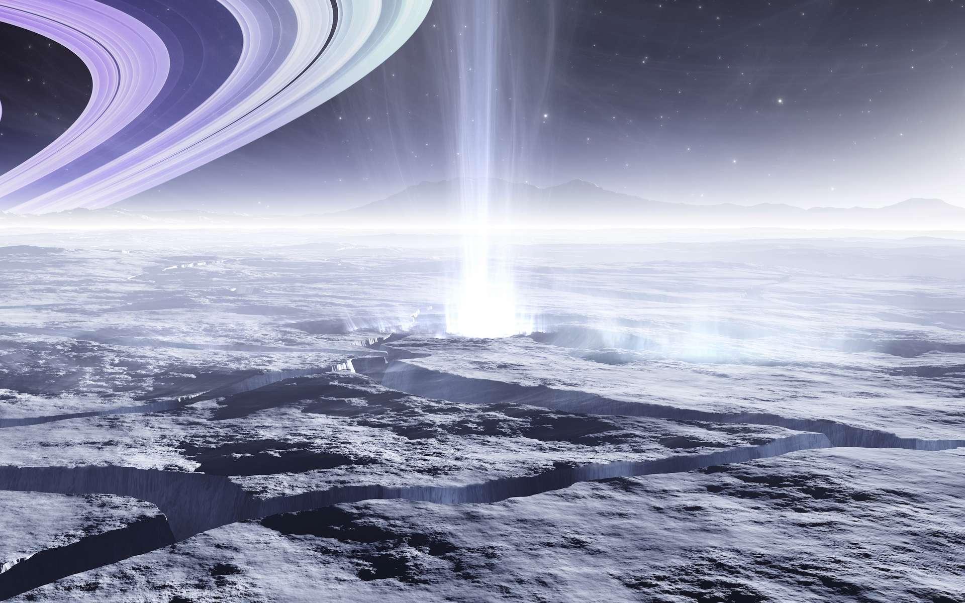 Illustration de la surface d'Encelade, lune couverte de glace. Des jets s'échappent de des fissures à sa surface. © Peter Jurik, Adobe Stock