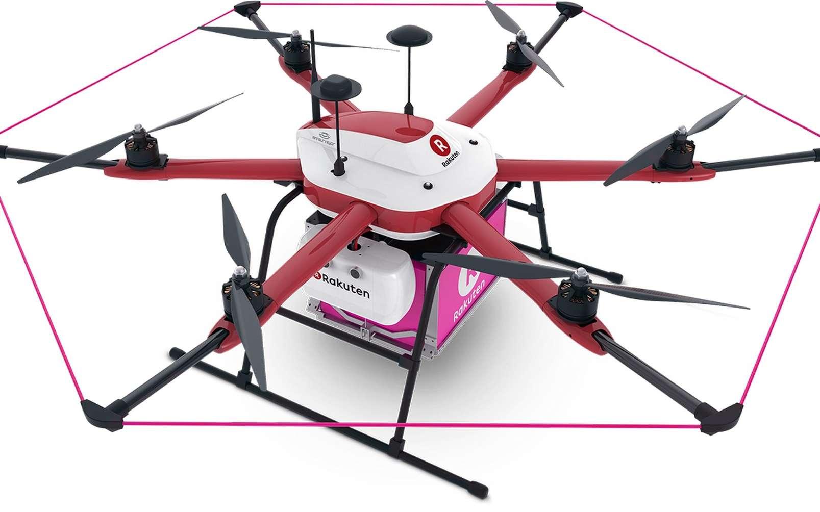 Rakuten a conçu son drone-livreur en partenariat avec Autonomous Control Systems Laboratory, société dont le géant japonais du commerce en ligne est actionnaire. © Rakuten