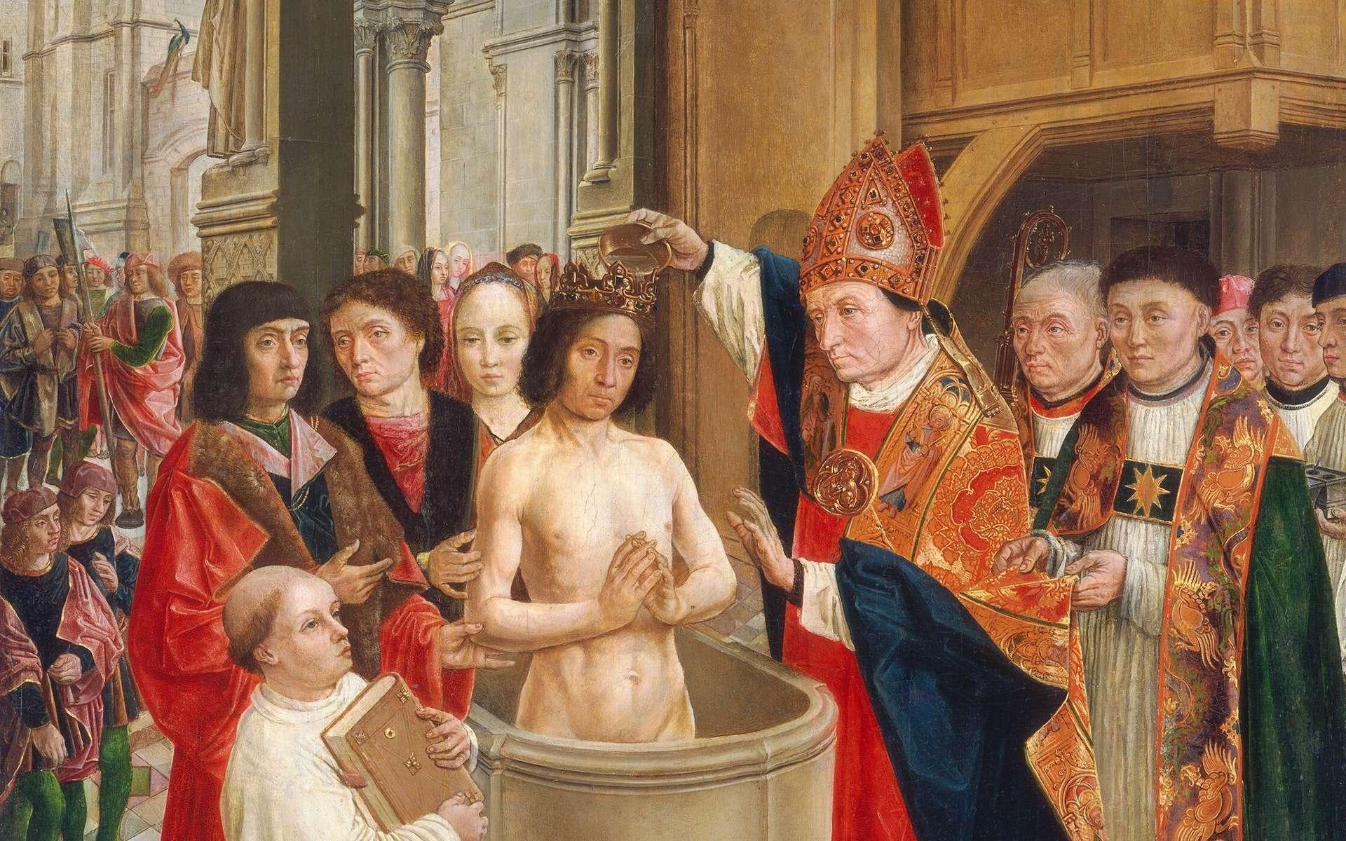 Clovis baptisé par l'évêque Saint Remi de Reims. Tableau des Maîtres de Saint-Gilles, vers 1500. © National Gallery of Art, Washington