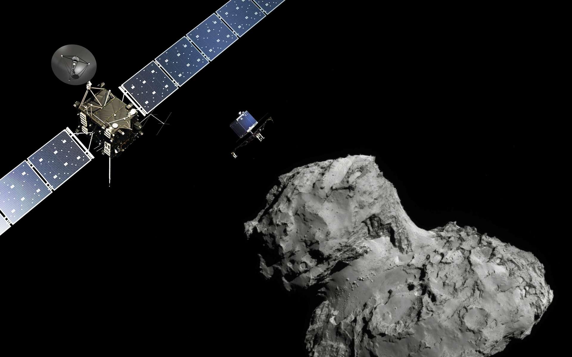 Une vue d'artiste de la sonde Rosetta devant 67P/Churyumov–Gerasimenko. © ESA/ATG medialab - image de la comète : ESA/Rosetta/Navcam