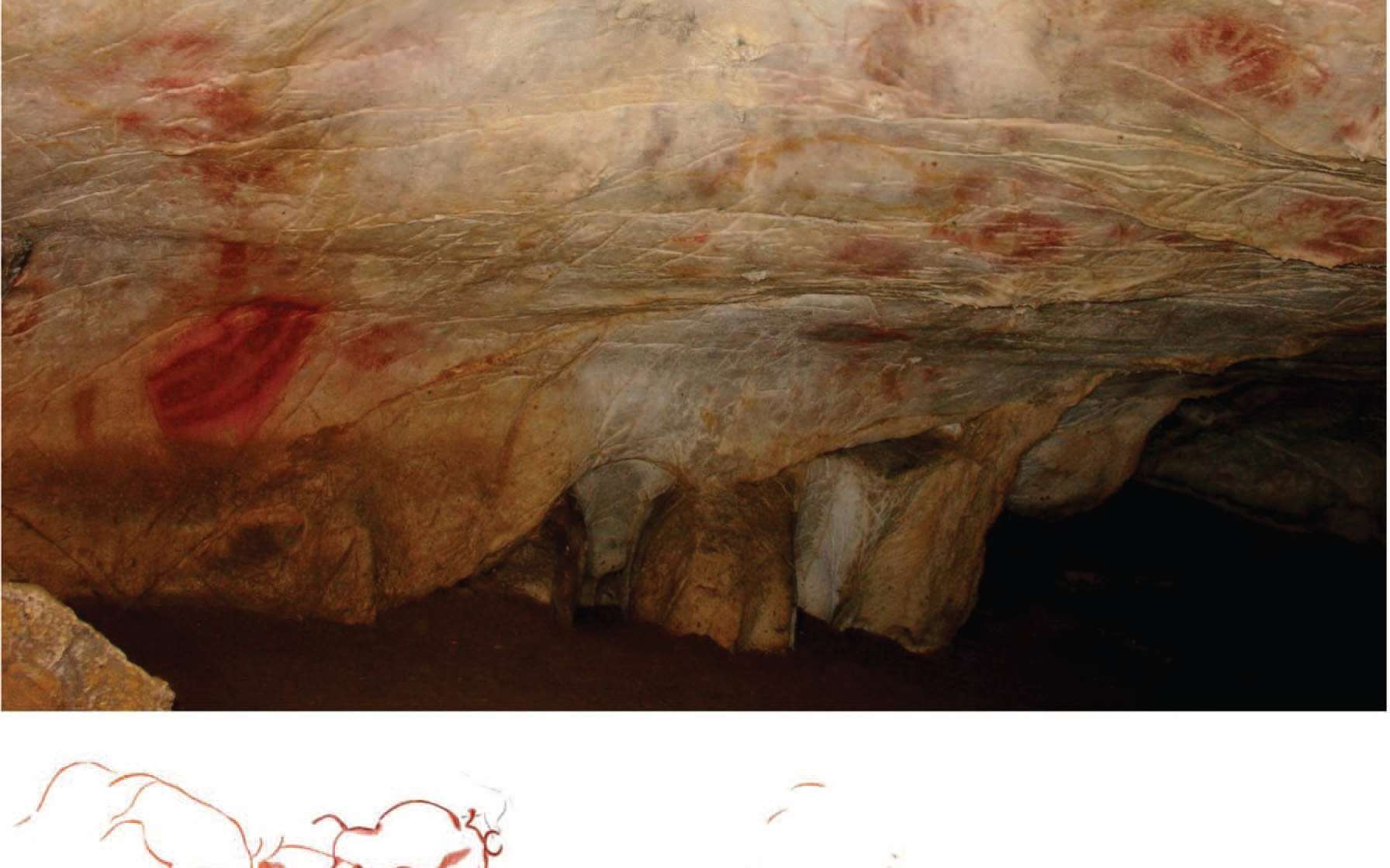 Les peintures rupestres O-83 seraient âgées d'au moins 40.800 ans. Elles ont été trouvées dans la grotte d'El Castillo (photographie du haut) dans le nord de l'Espagne. Elles ont été recouvertes par des empreintes de mains (O-82), visibles sur le schéma du bas, il y a au minimum 37.900 ans. © Pike et al. 2012, Science