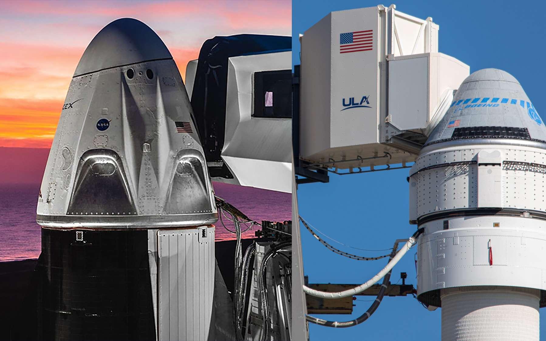 Les capsules Crew Dragon et Starliner, avec les passerelles qui permettront aux astronautes d'embarquer à l'intérieur. © Nasa, Boeing, SpaceX