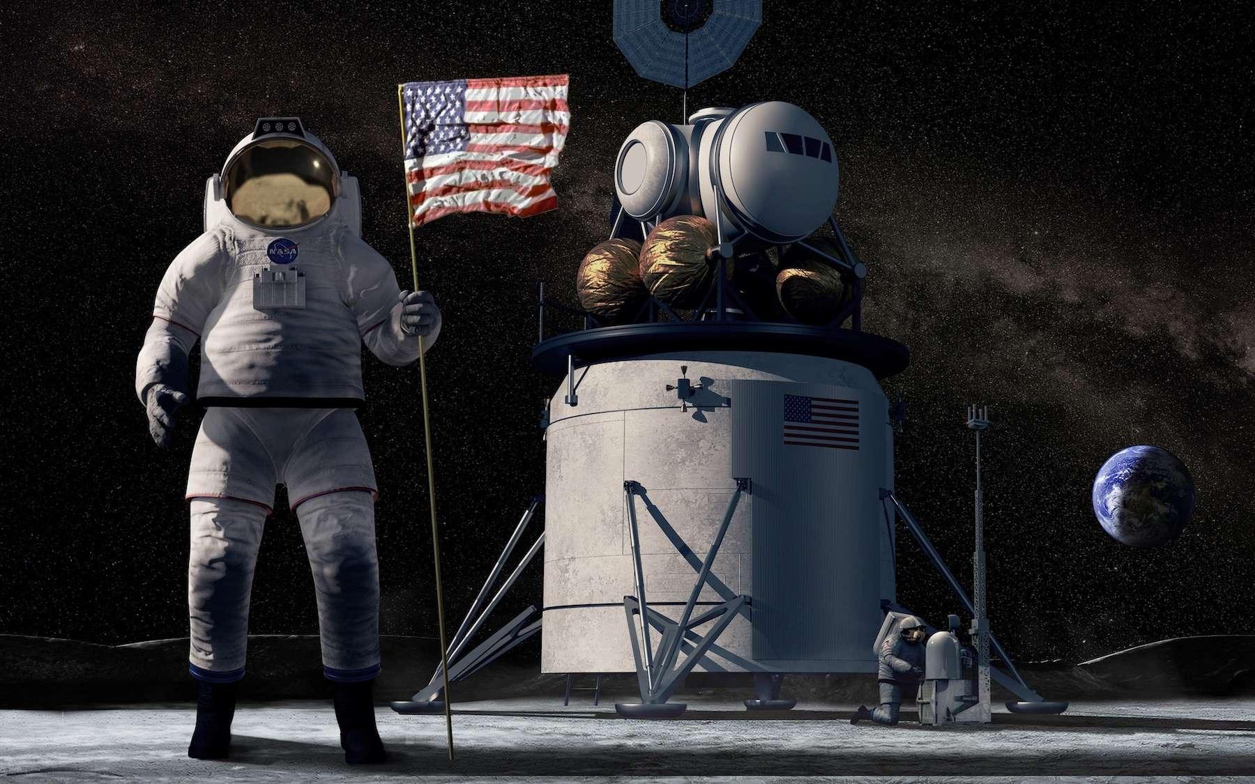 Illustration de la future mission sur la Lune de la Nasa nommée Artemis. © Nasa