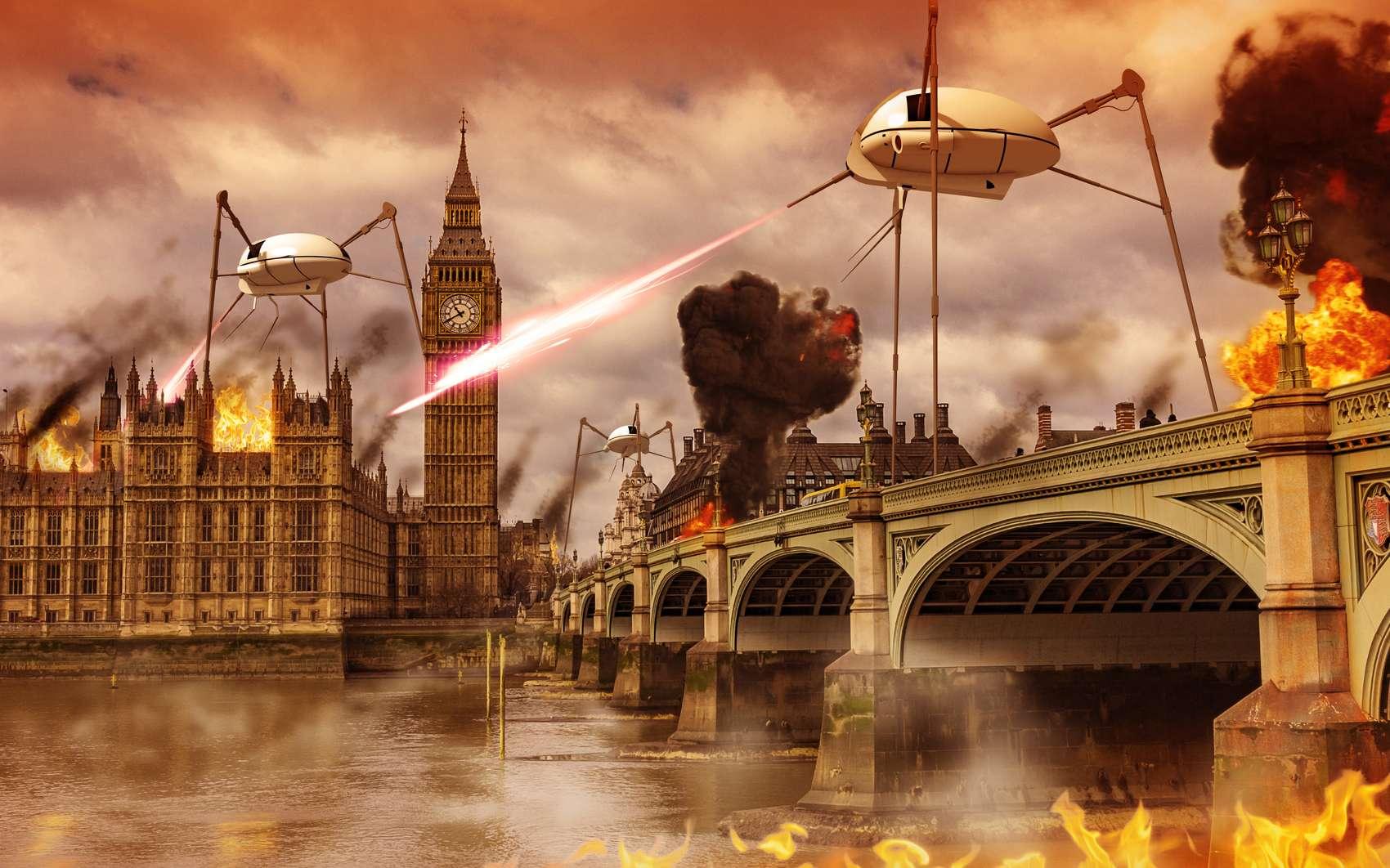 Les Martiens envahissent Londres à l'aide de leur Fumée Noire et de leur Rayon Ardent. © ratpack223, Fotolia