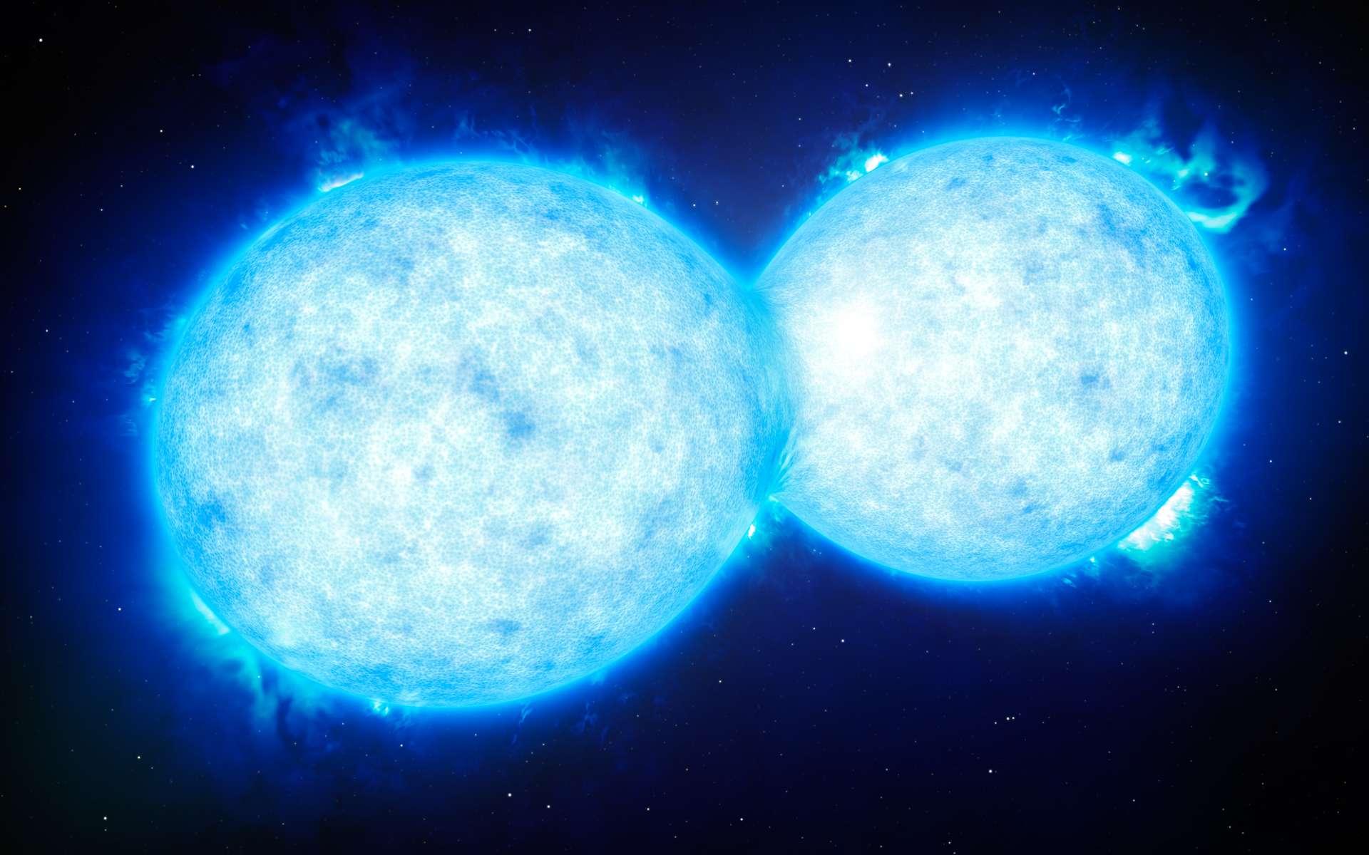 Cette vue d'artiste montre VFTS 532 – le système d'étoiles doubles le plus chaud et le plus massif connu à ce jour, dont les composantes, situées à grande proximité l'une de l'autre, partagent du contenu matériel. Les deux étoiles de ce système extrême se situent à quelque 160.000 années-lumière de la Terre dans le Grand Nuage de Magellan. Cet étrange système s'achemine certainement vers une fin dramatique : la formation d'une unique étoile géante ou d'un futur trou noir binaire. © ESO/L. Calçada