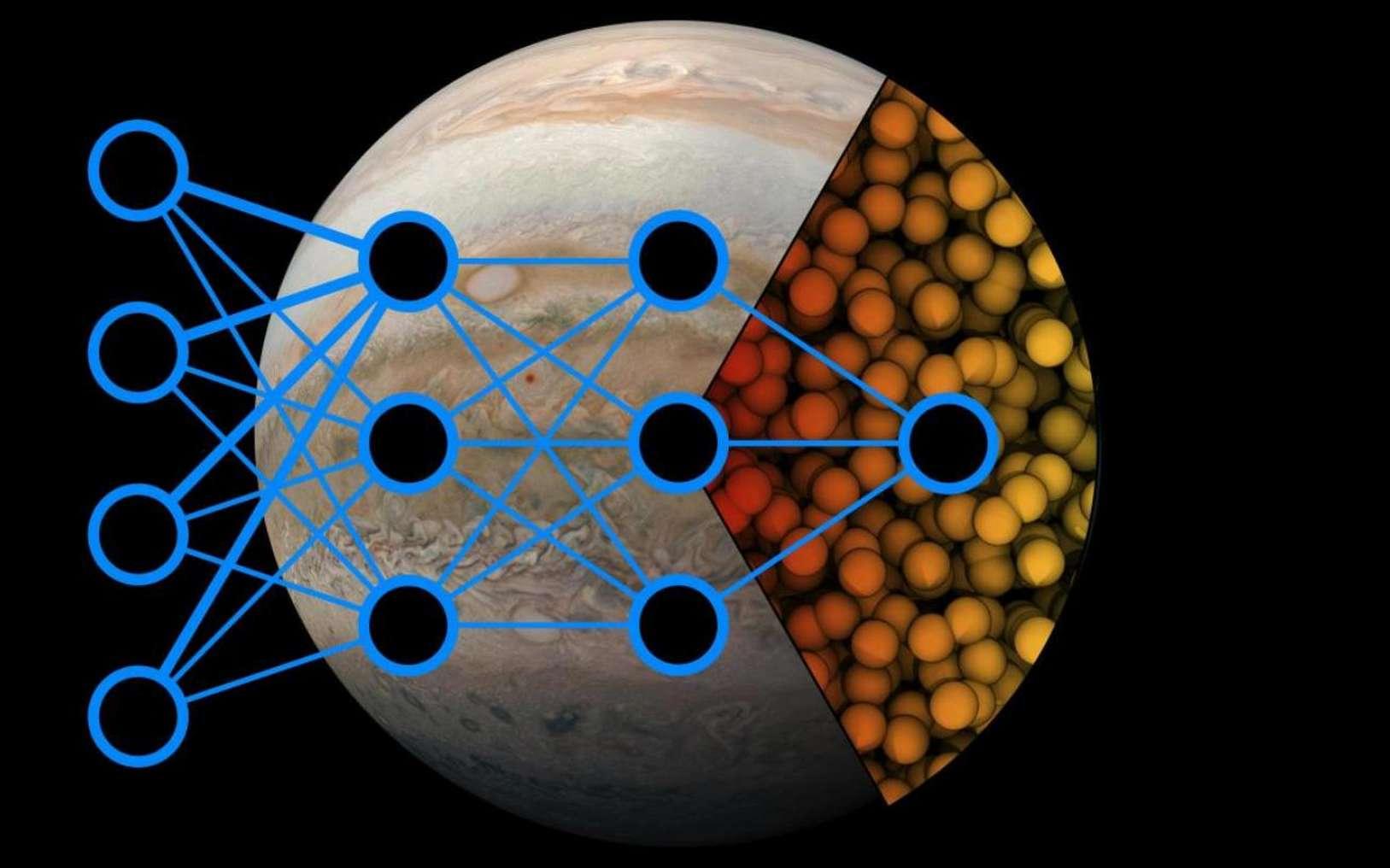 Une technique de deep learning peu coûteuse a permis d'étudier les transitions de phase hydrogène pour des températures comprises entre 100 et 4000 K et des pressions comprises entre 25 et 400 gigapascals. © Michele Ceriotti, EPFL