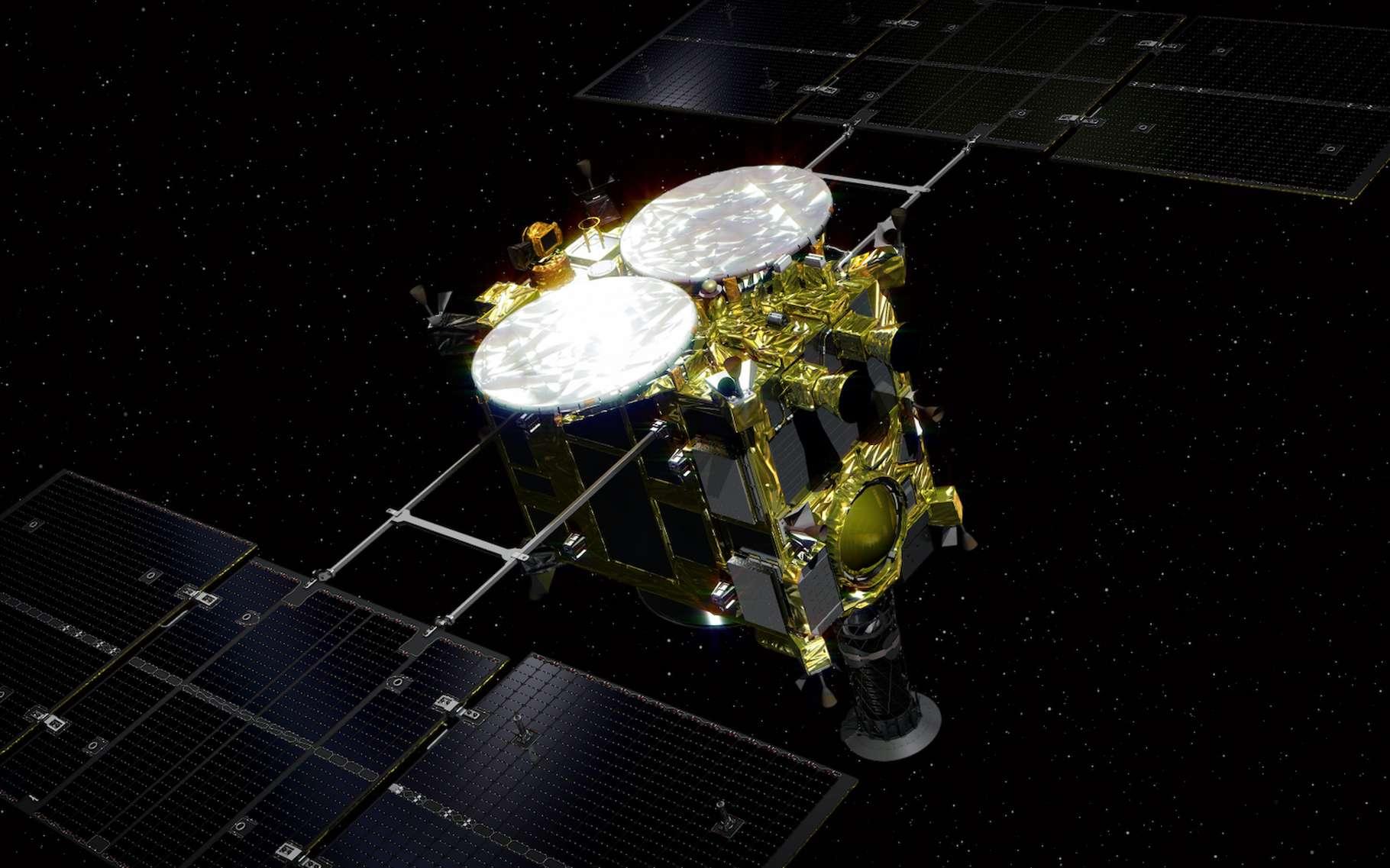 Une vue d'artiste de la sonde japonaise Hayabusa 2 partie explorer l'astéroïde Ryugu. © Go Miyazaki, Wikipedia, CC by SA 4.0