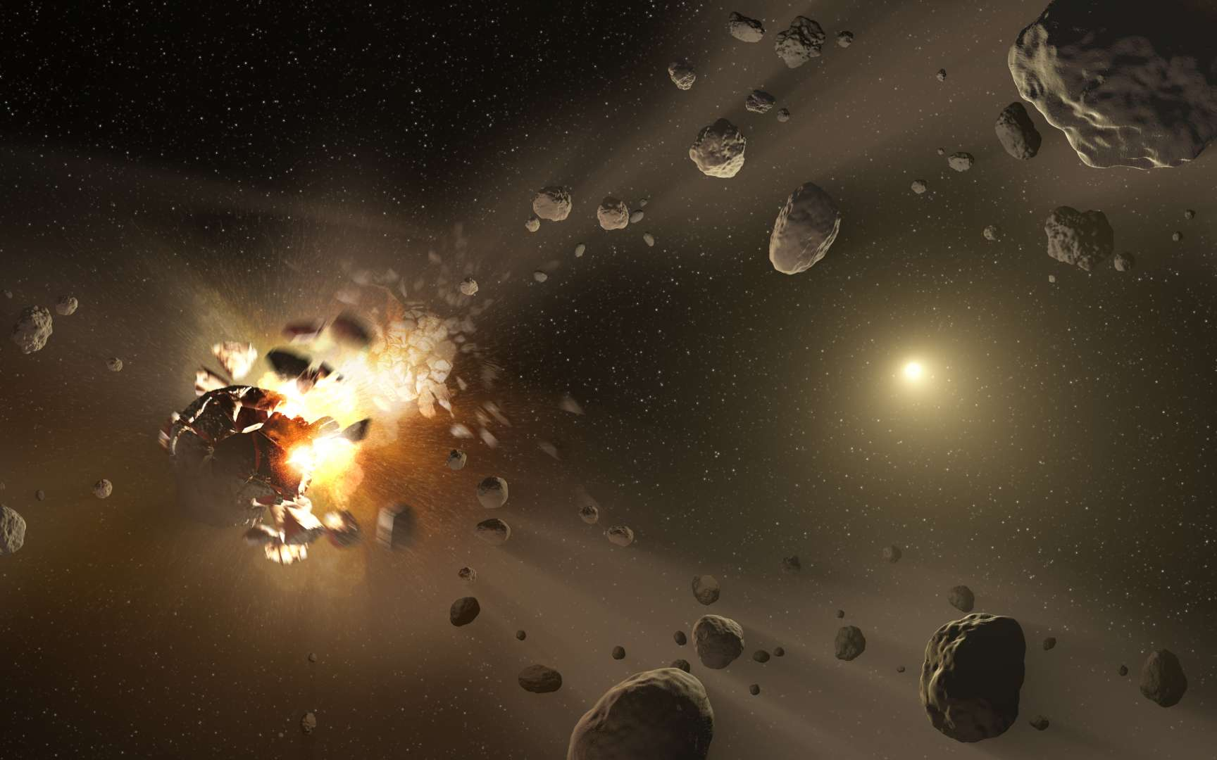 Des chercheurs ont peut-être découvert les plus vieux astéroïdes du Système solaire. Une famille d'astéroïdes est créée suite à une collision avec un corps de la ceinture principale. Les fragments ont en majorité une orbite similaire au corps parent. Cependant, certains prennent peu à peu leurs distances sous l'effet de mini-impulsions créées par le rayonnement solaire. © Nasa, JPL-Caltech