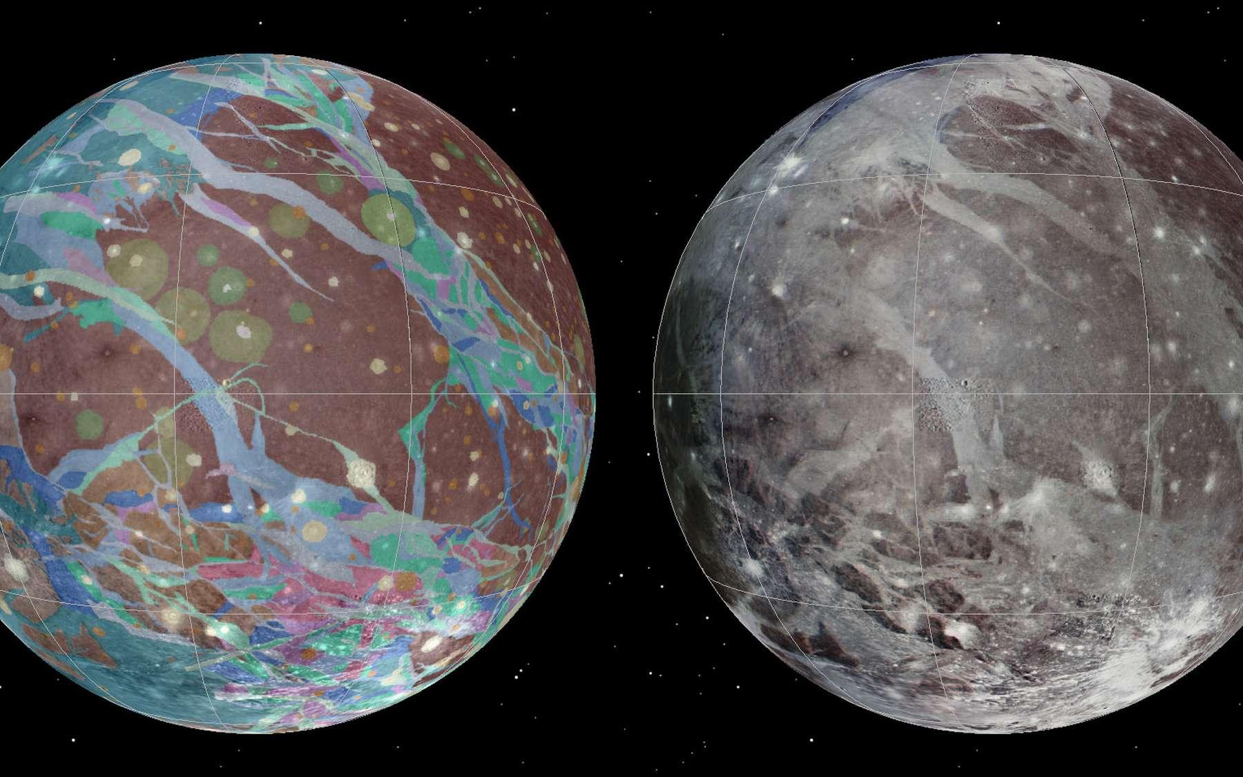 Plus gros satellite de Jupiter, la lune Ganymède est recouverte d'une surface glacée, formée et déformée par une variété de processus tectoniques, d'impacts et, peut-être, d'événements cryovolcaniques. L'histoire de Ganymède semble divisée en trois phases distinctes. À une époque précoce, il y a plus de 4 milliards d'années, dominée par des cratères d'impact, ont succédé une période marquée par de grands bouleversements tectoniques puis, finalement, une phase de repos caractérisée par une baisse progressive des flux de chaleur et de rares impacts. Les images et les données à l'origine de la première carte géologique de cette lune ont été recueillies au cours des survols de Voyager 1 et Voyager 2 (1979), ainsi que lors de la mission Galileo en orbite autour de Jupiter (1995-2003). © Nasa,USGS