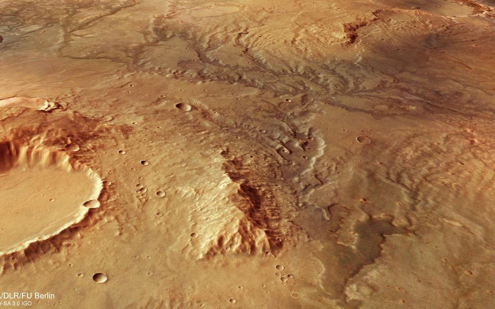 Vue en perspective des traces d'anciennes vallées fluviales repérées par le satellite Mars Express de l'ESA en novembre 2018 dans l'hémisphère sud de la Planète rouge. © ESA, DLR, FU Berlin, CC by-sa 3.0 IGO