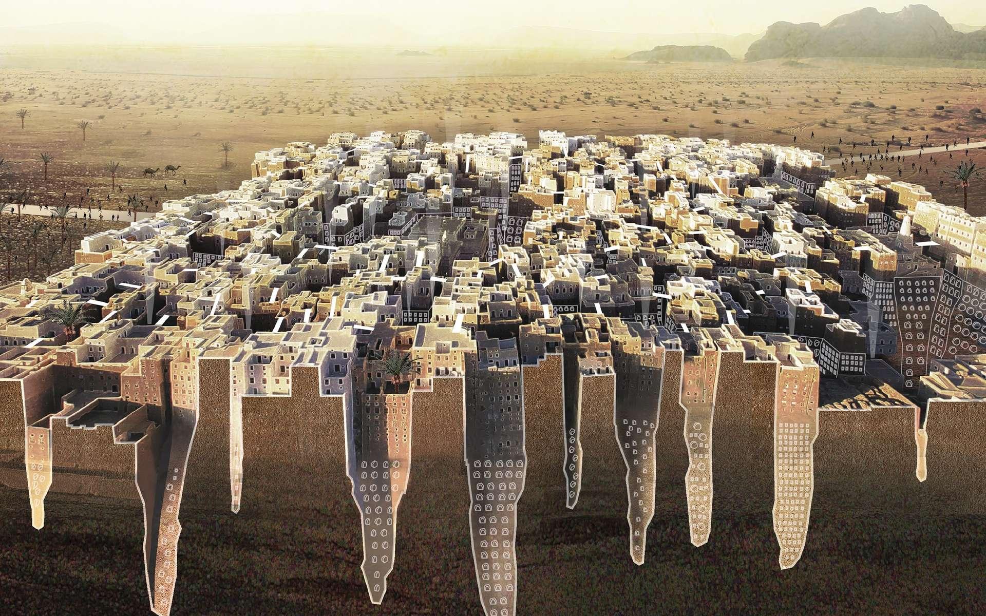 Des projets pas si fous que cela pour les villes du futur, comme celui d'une cité enterrée sous la ville fortifiée de Shibam, au Yémen. © Estelle Filliat, Charlotte Ferreux, Duc Truong, Elias Vogel, eVolo