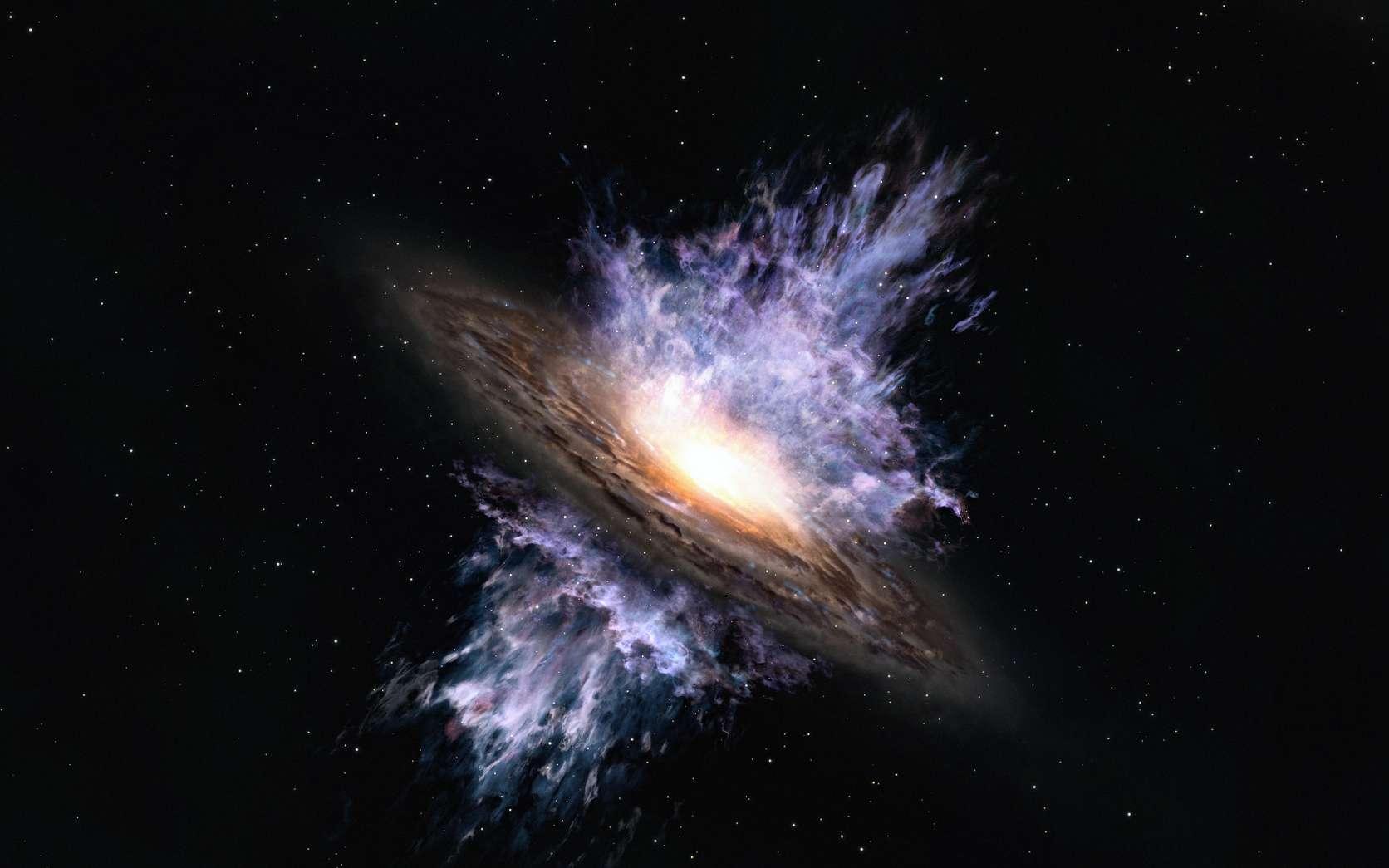 Vue d'artiste des vents galactiques produits par un trou noir supermassif situé au centre d'une galaxie. L'énergie intense émanant du trou noir crée un flux de gaz à l'échelle de la galaxie qui souffle la matière interstellaire qui est le matériau de formation des étoiles. © Alma (ESO / NAOJ / NRAO)