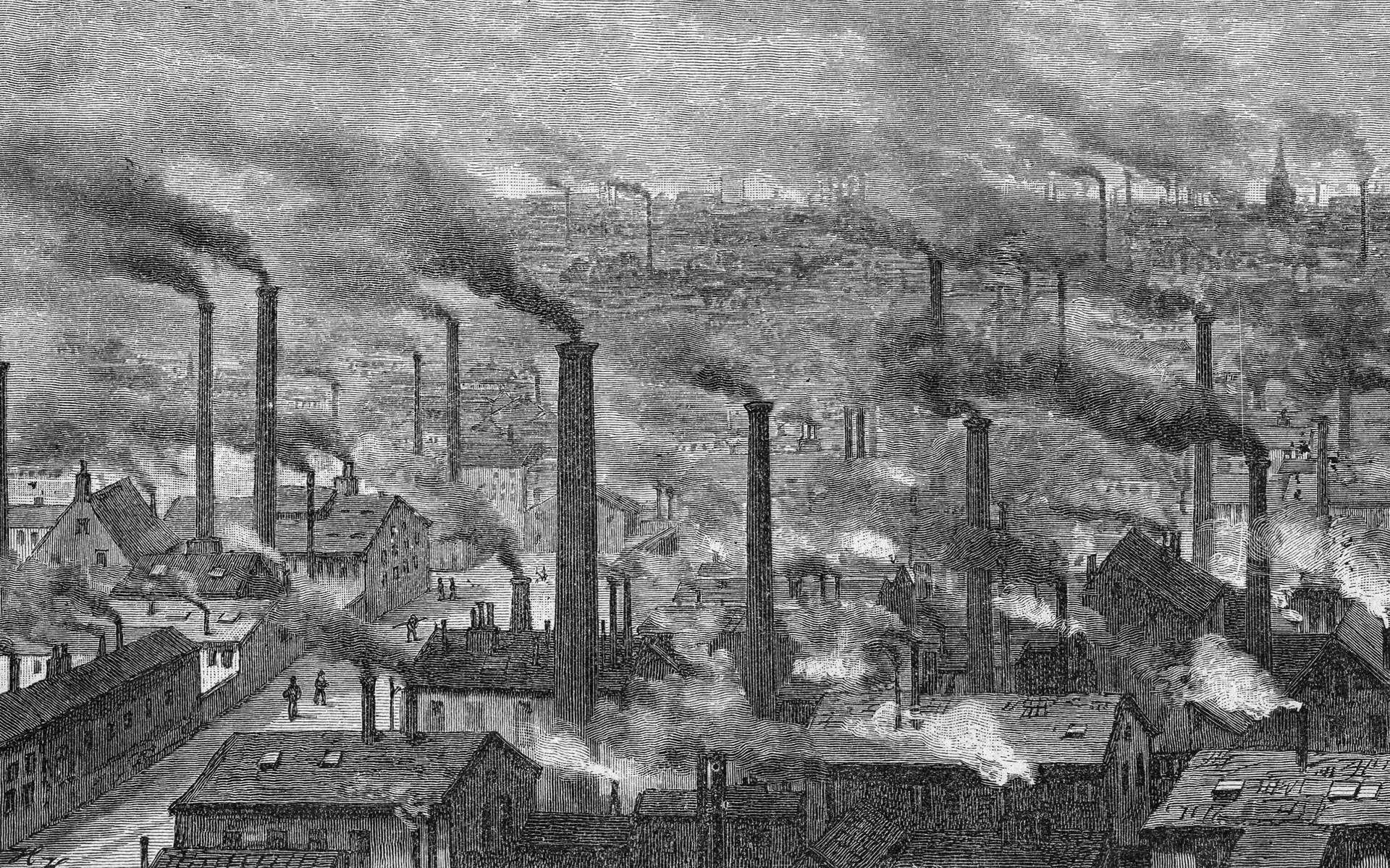 Gravure d'une ville industrielle en Angleterre à la fin du XIXe siècle. © DP