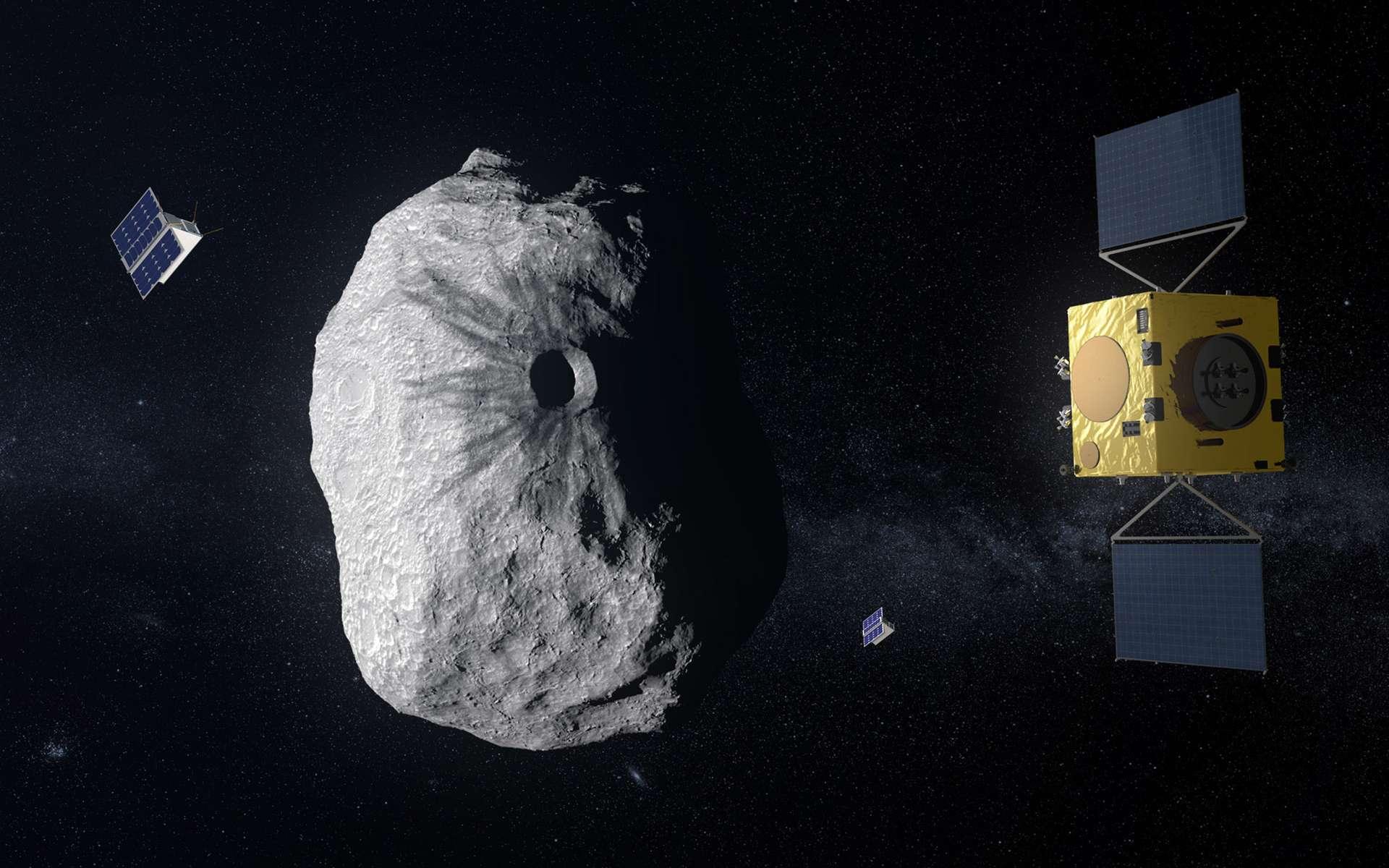 Vue d'artiste de la sonde Hera à proximité de l'astéroïde binaire Didymos et de sa petite lune (Didymoon). © ESA, Science Office