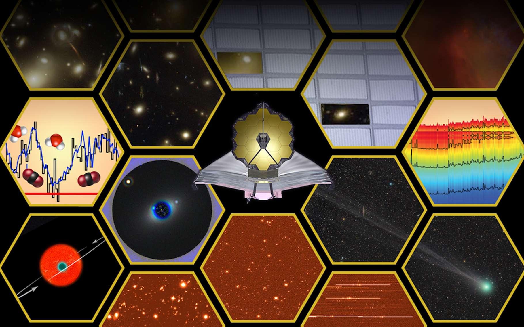 Sur cette illustration sont symbolisées les capacités scientifiques du télescope spatial James Webb. Les responsables du projet viennent d'annoncer les premiers heureux élus qui obtiendront du temps d'observation dès 2022. © E. Feild (STScl), Nasa, ESA
