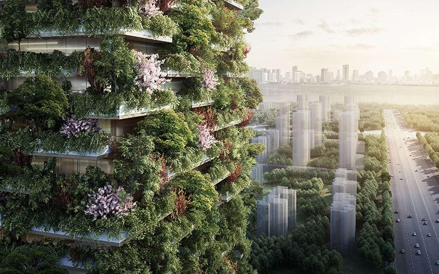 Pour réduire la pollution de l'air en ville, y amener de la végétation est une des solutions possibles. En plus des espaces verts, une idée novatrice, qui commence à se concrétiser, est d'installer des végétaux, et même des arbres, sur les immeubles eux-mêmes. © Stefano Boeri Architetti