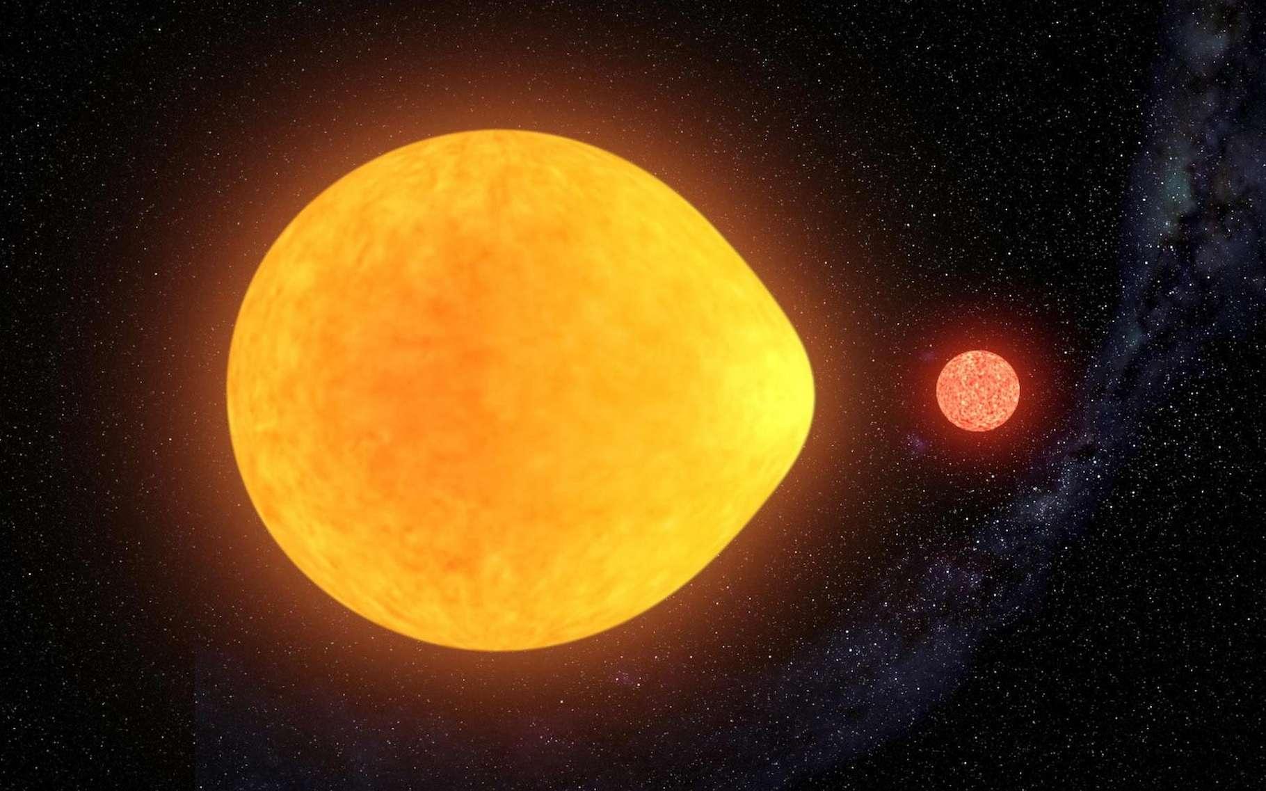 Déformée par l'attraction gravitationnelle de sa compagne naine rouge, l'étoile HD74423 ne pulse que d'un seul côté, affirment des chercheurs. © Gabriel Perez Diaz, Institut d'astrophysique des Canaries