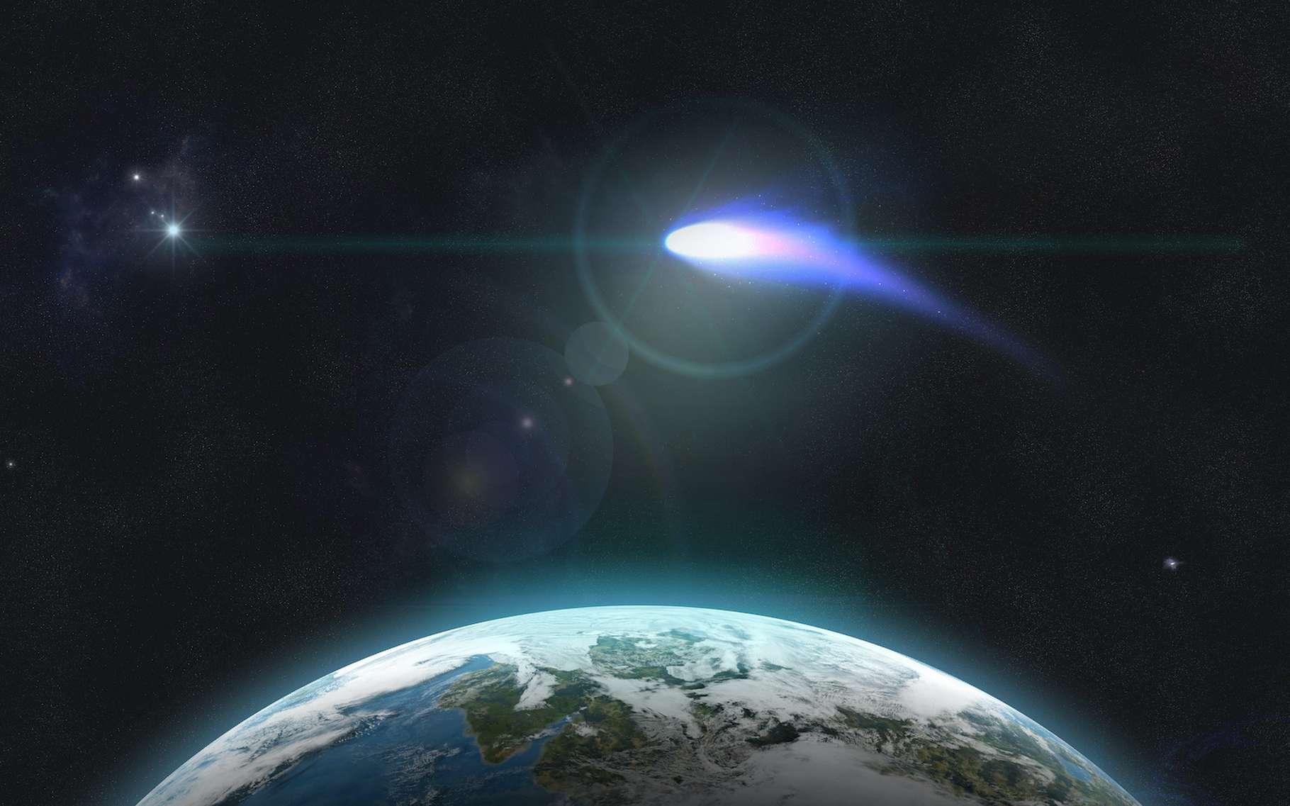 Il n'y a pas de trace du passage dans le ciel de la Terre d'une comète marquante il y a environ 3.000 ans. Pourtant, des astronomes de l'université du Maryland (États-Unis) pensent que le spectacle de la comète mère de la comète C/2019 Y4 (Atlas) a dû être exceptionnel pour les Hommes de l'âge de pierre installés en Eurasie et en Afrique du Nord. © Fox_Dsign, Adobe Stock