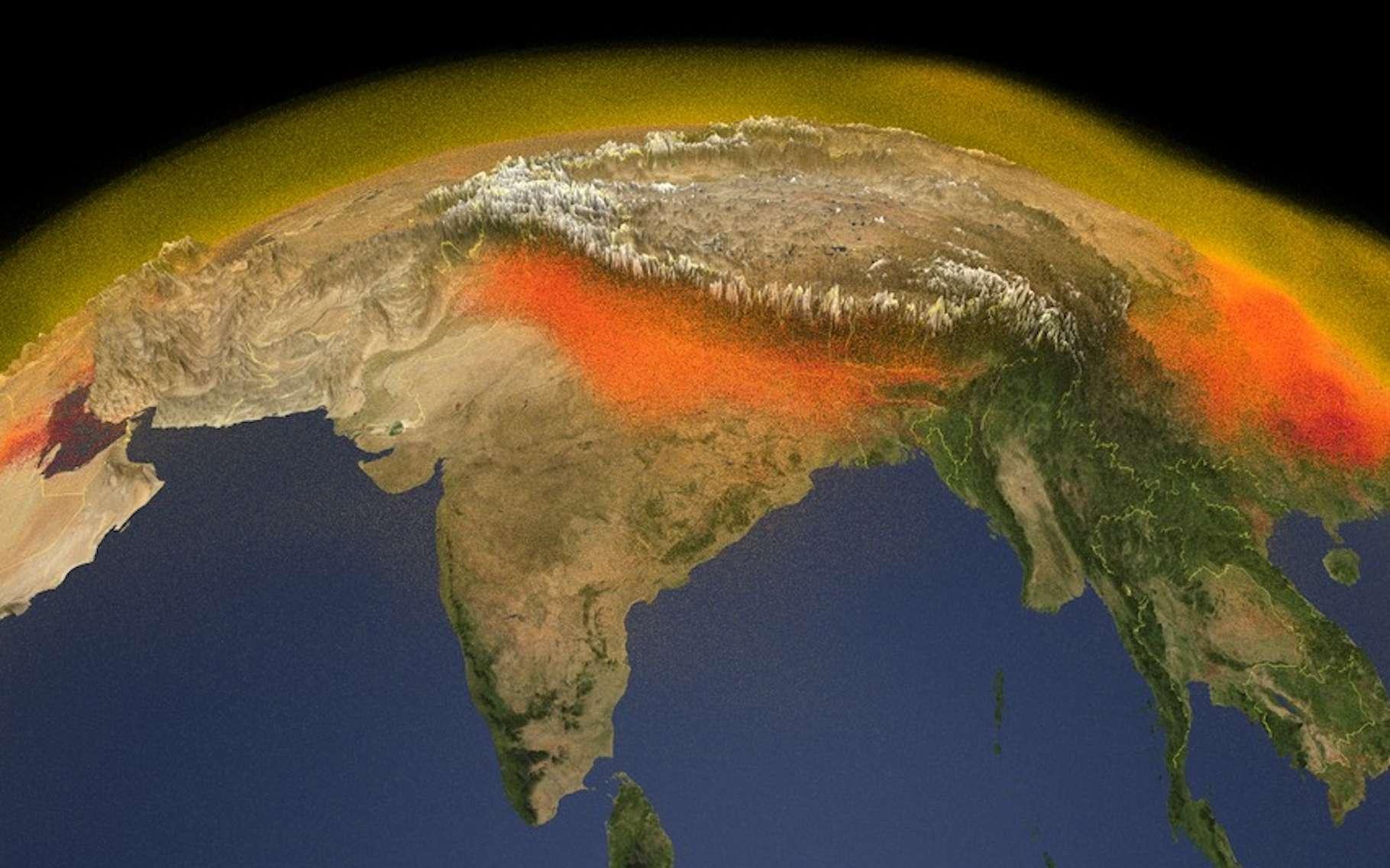 Cette carte 3D publiée par la Nasa montre des émissions de méthane importantes du côté de l'Inde et de la Chine, dues, pour les premières à la riziculture notamment et pour les secondes, aux activités industrielles. © Nasa, Scientific Visualization Studio