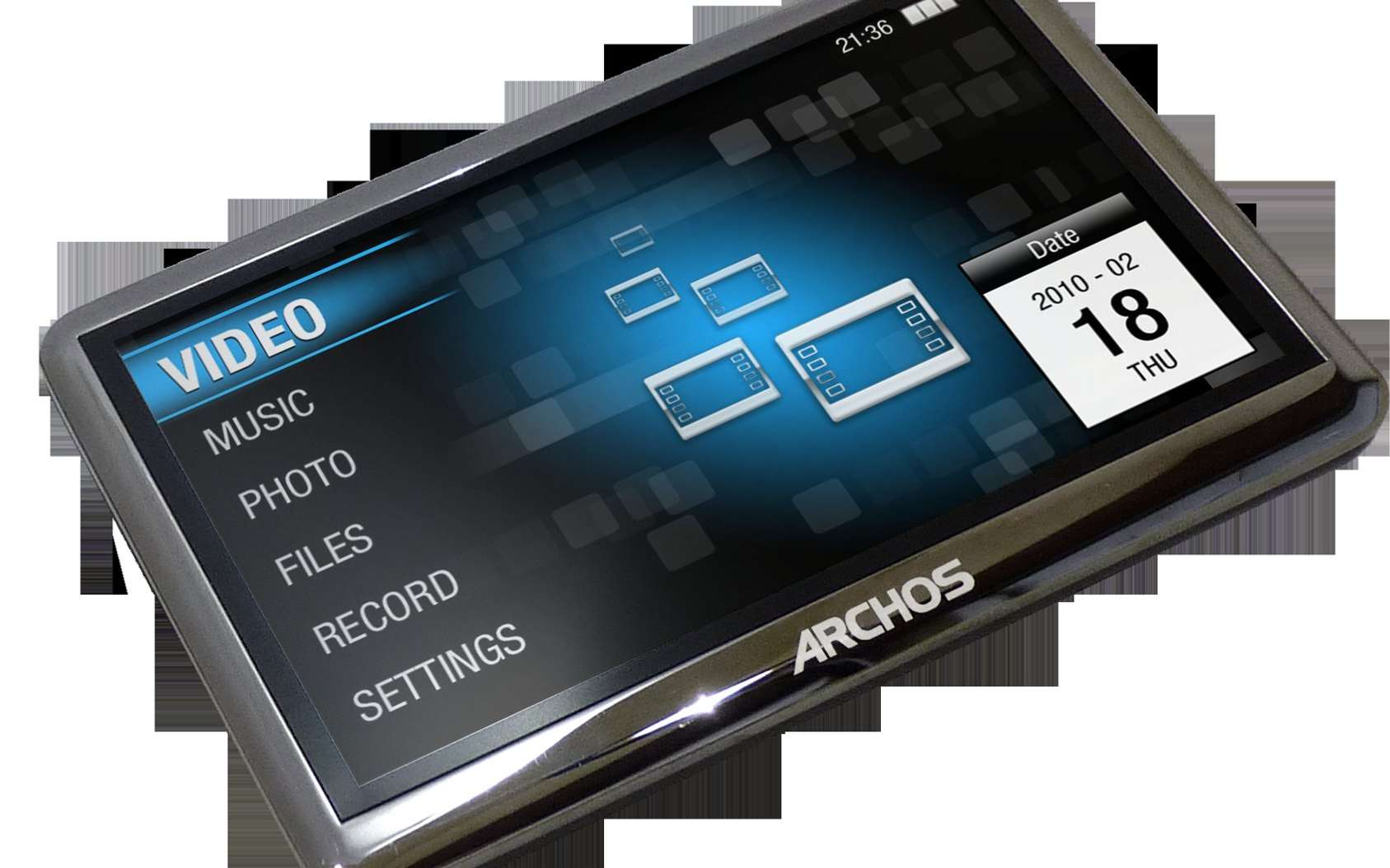 Le format vidéo MPeg 4 permet de diffuser de la vidéo sur différents appareils, comme des ordinateurs, des téléphones ou des lecteurs, comme ce modèle 4-3 Vision, d'Archos. © Archos