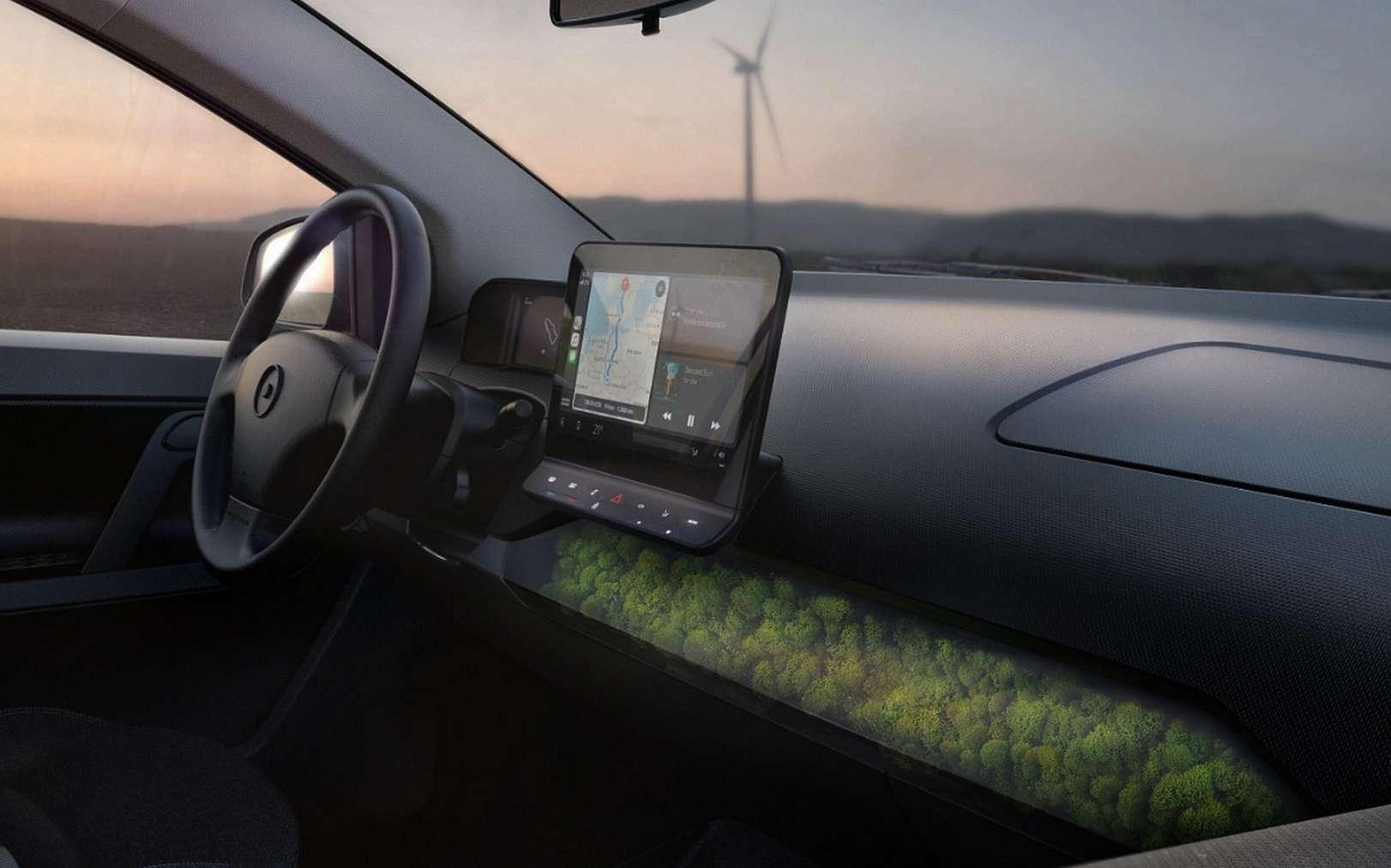Le tableau de bord de la Sono Sion et sa mousse naturelle qui filtre l'air de l'habitacle. © Sono Motors