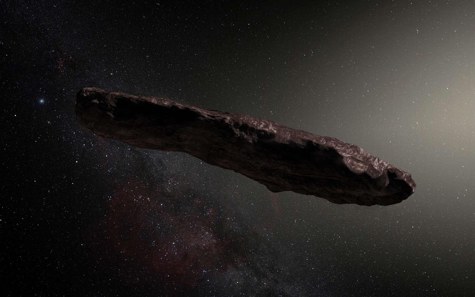 Illustration de 1I/2017 U1 'Oumuamua, premier astéroïde interstellaire découvert (19 octobre 2017). © ESO, M. Kornmesser