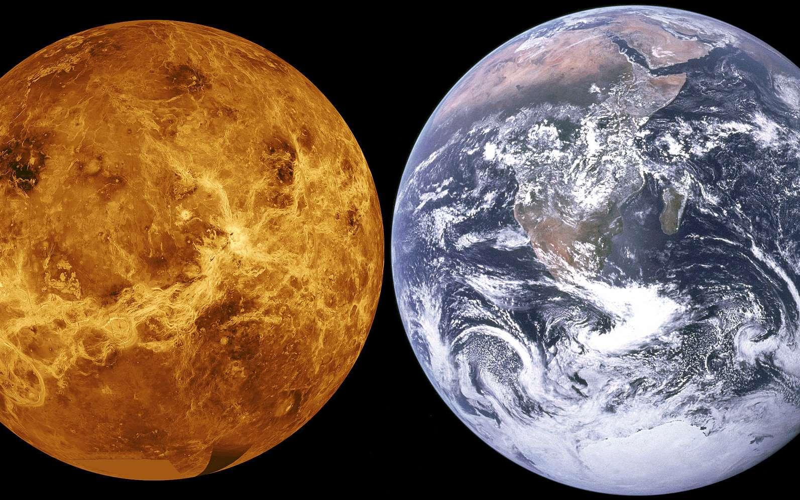 À gauche, une image de la surface de Vénus, en fausses couleurs, reconstituée à l'aide d'ordinateurs et des données prises avec le radar de la sonde Magellan. À droite une image de la Terre prise par les astronautes d'Apollo 17. Les deux planètes sont de tailles et de masses comparables, et pourtant l'une est un enfer tandis que l'autre regorge de vie et d'eau liquide. © Nasa