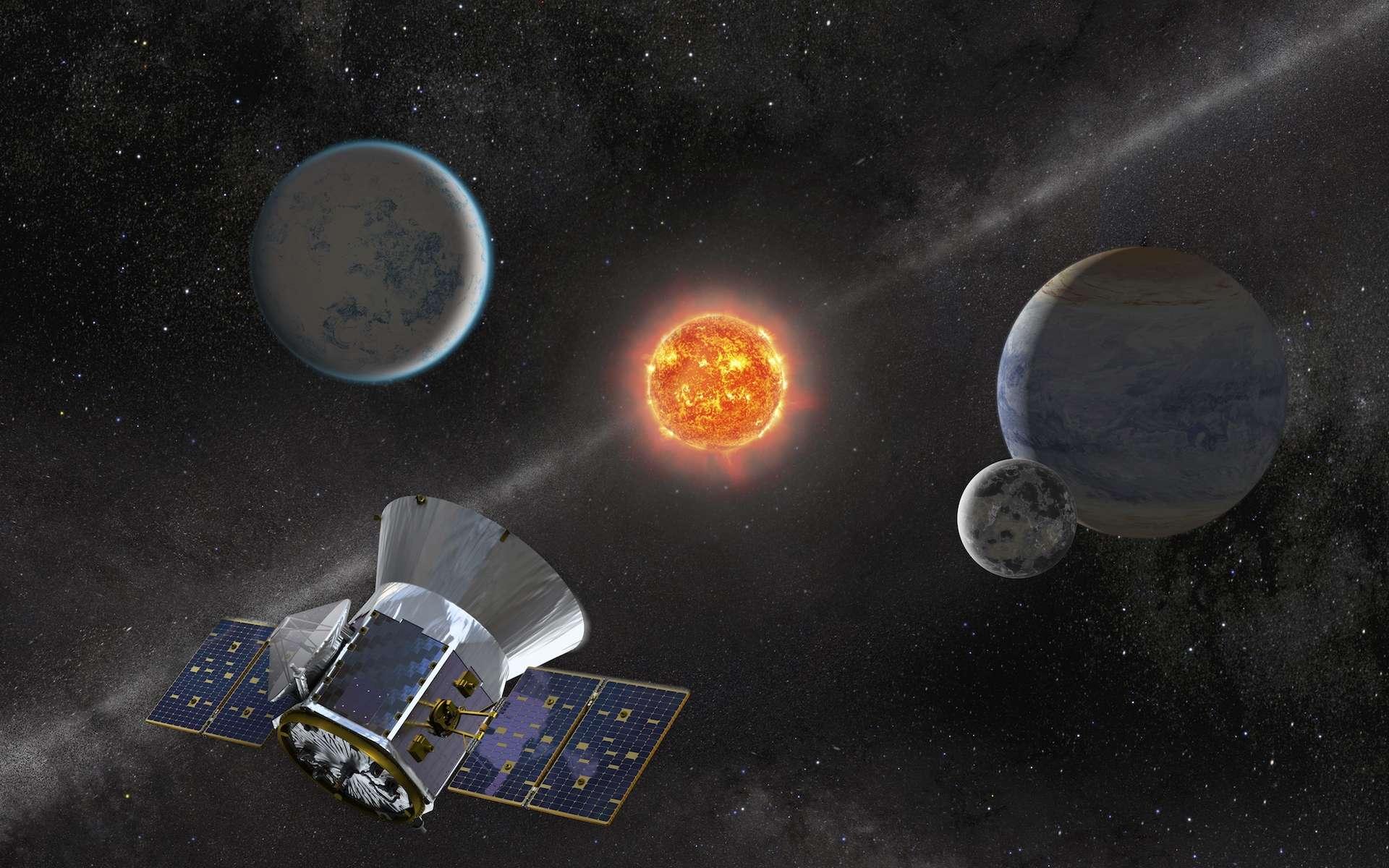 Une vue d'artiste de Tess, le chasseur d'exoplanète. © Nasa