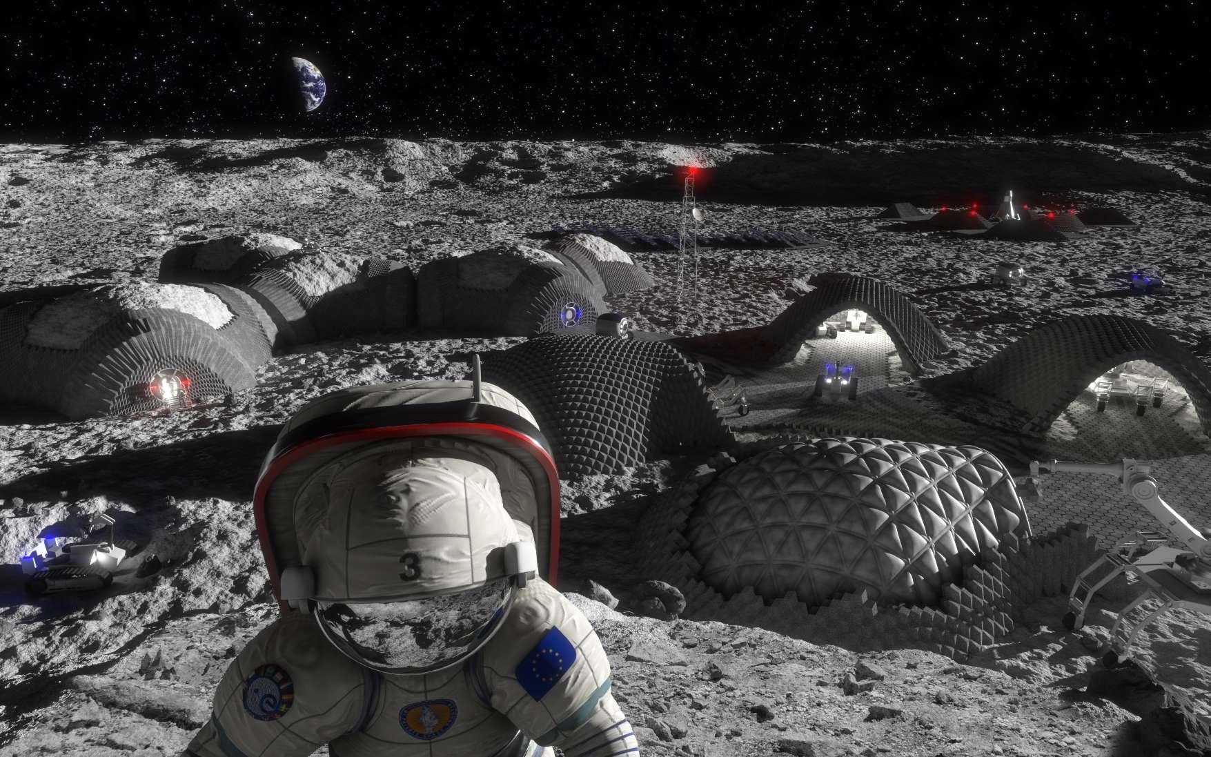Une vue d'artiste d'une colonie lunaire construite avec l'aide d'imprimante 3D. © Liquifer Systems Group