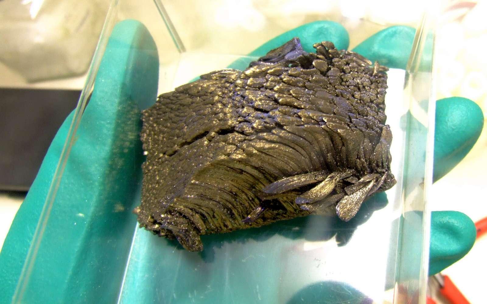 L'europium est un métal argenté. Comme d'autres terres rares, il s'oxyde facilement à l'air. Ici, un lingot d'europium pur. Dans ce lingot, le métal est cristallin et forme des dendrites. © Alchemist-hp, Wikimedia Commons, CC by-sa 3.0