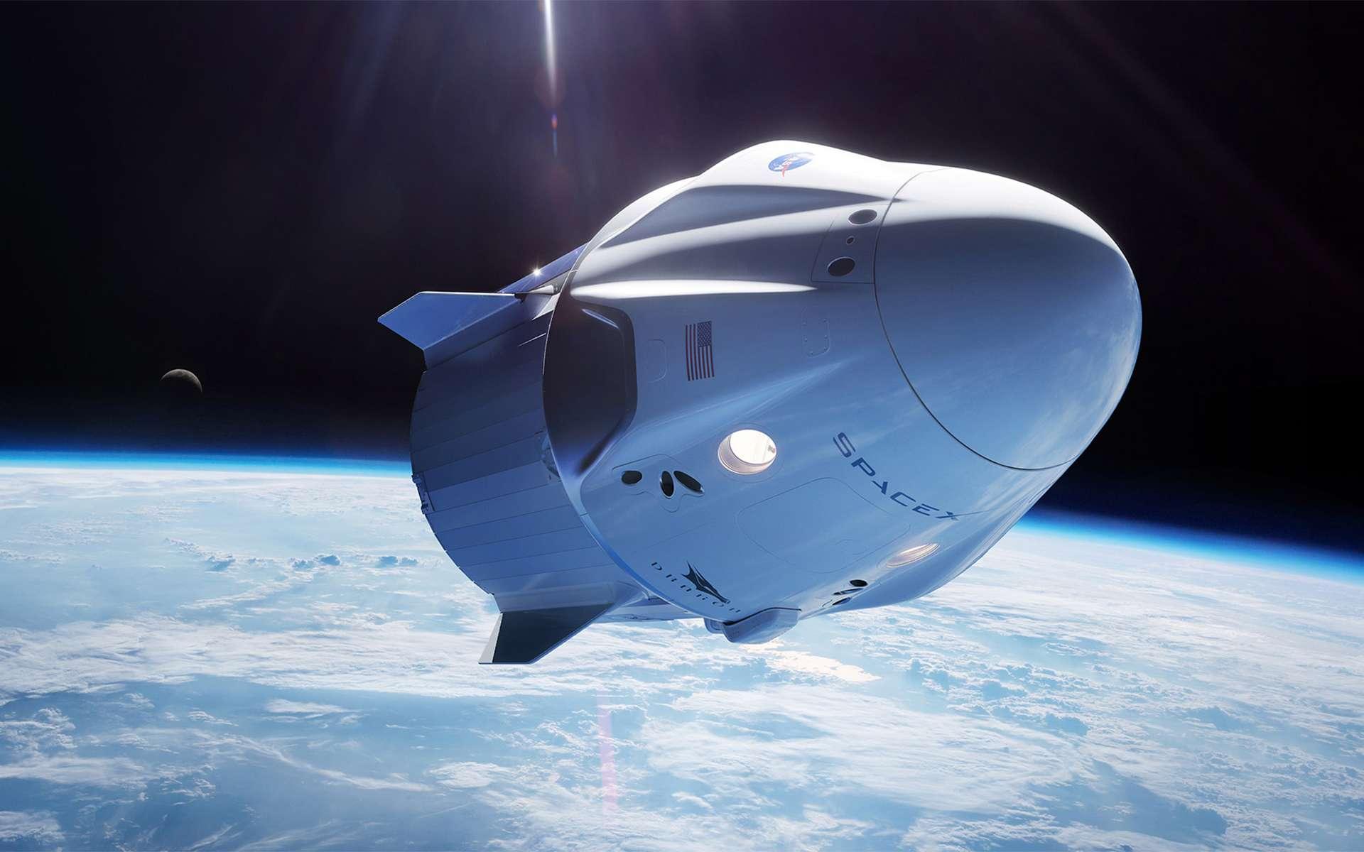 Vue d'artiste de la capsule Crew Dragon de SpaceX. © SpaceX
