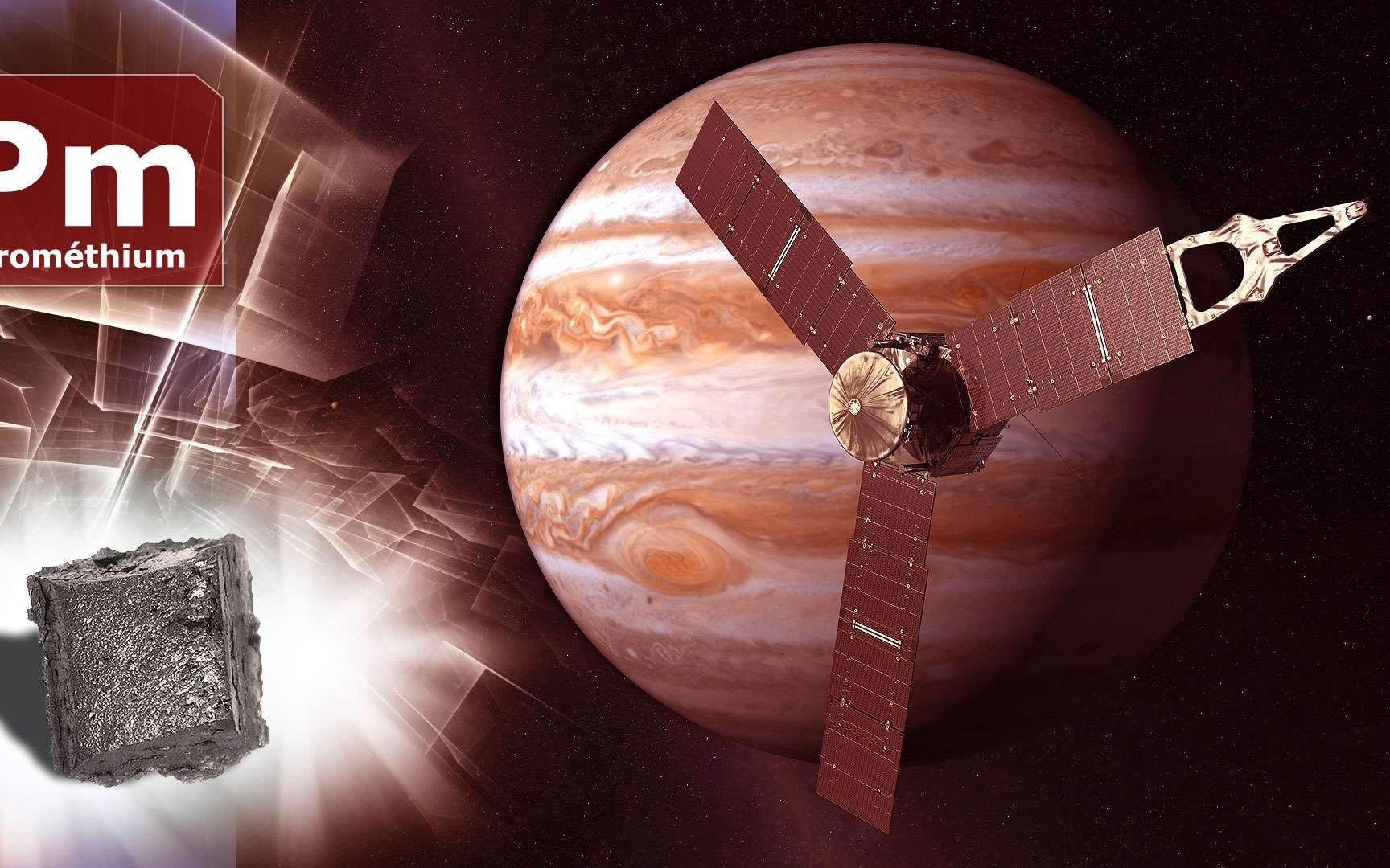 Le prométhium, un sous-produit de la fission de l'uranium. Le prométhium (Pm) est un lanthanide. Il doit son nom à Prométhée, titan de la mythologie grecque ayant volé le feu aux dieux. Il est récupéré comme sous-produit de fission de l'uranium. Son utilisation est envisagée dans l'aérospatiale comme source de chaleur et d'électricité. Sur l'image, la sonde Juno près de Jupiter.© DR et Nasa-JPL, DP