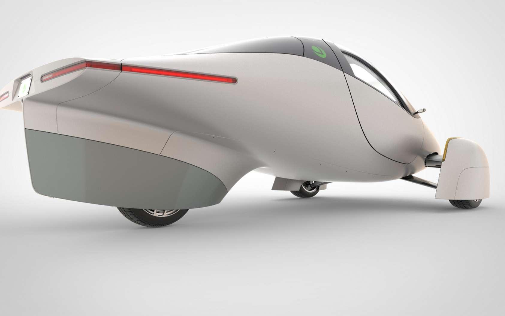 L'Aptera ressemble plus à un vaisseau spatial qu'à une voiture. Et ça lui va bien ! © Aptera Motors