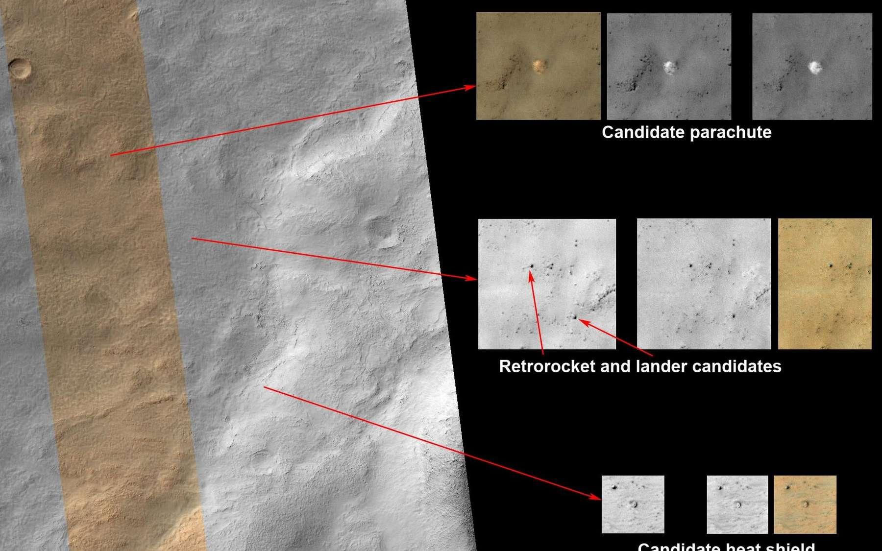 Photographié en haute résolution par l'orbiteur MRO, le fond du cratère martien Ptolémée révèle des irrégularités que des passionnés d'astronautique russes ont associées avec les restes de la mission soviétique Mars 3, qui posa pour la première fois un engin terrestre sur la Planète rouge en 1971. © Nasa, JPL-Caltech, université d'Arizona