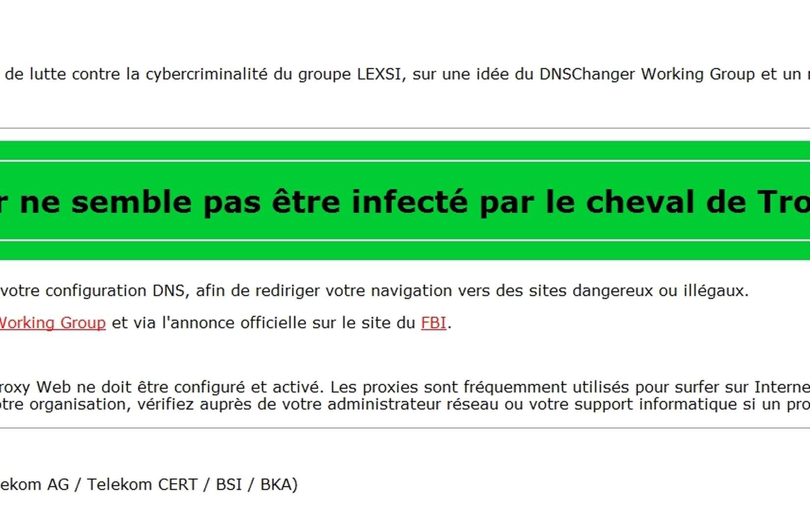 Le site de l'organisme de sécurité Lexsi permet de savoir si votre ordinateur est contaminé par le cheval de Troie DNSChanger. © Capture EP