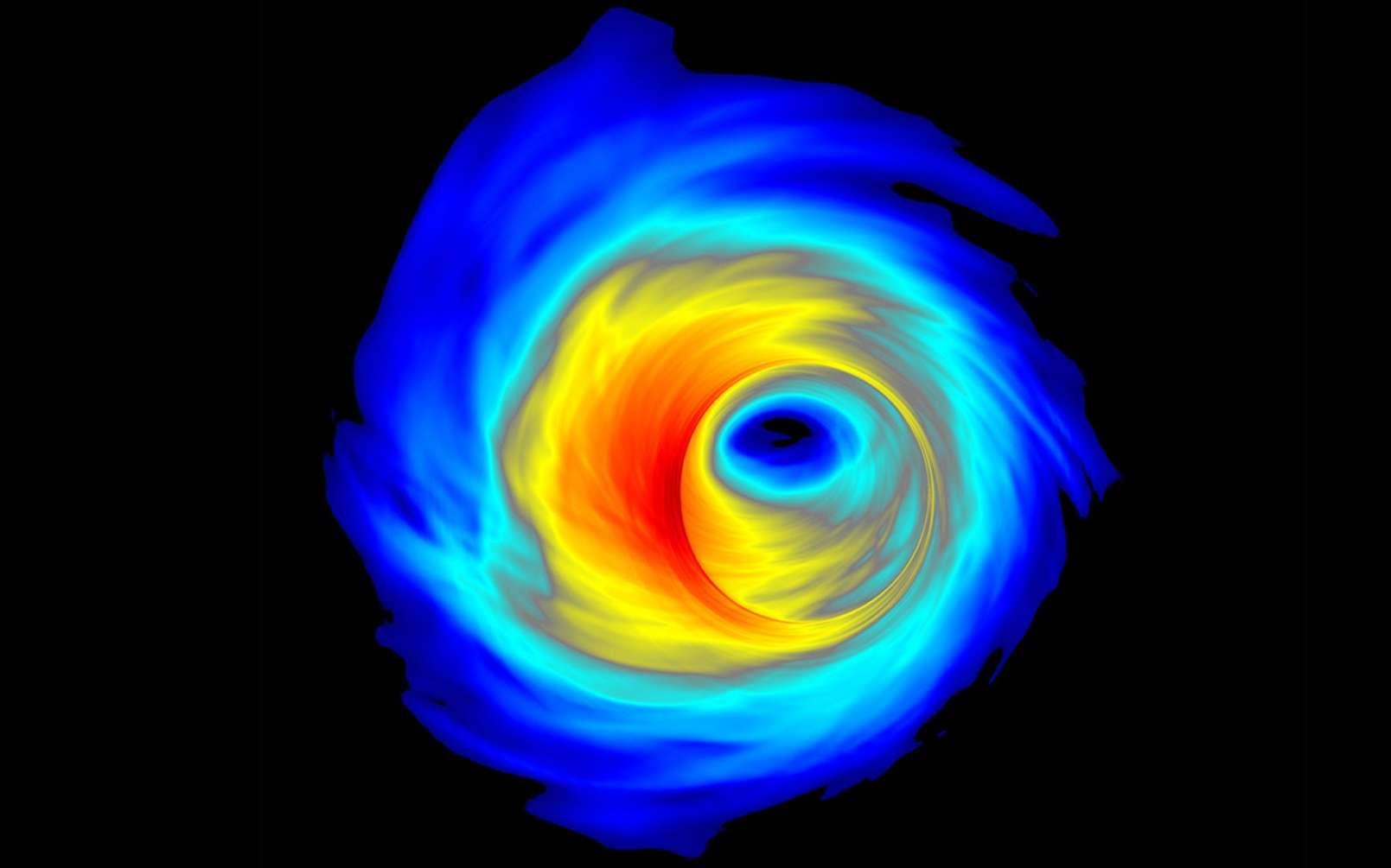Simulation d'un disque d'accrétion entourant un trou noir supermassif. © Scott C. Noble