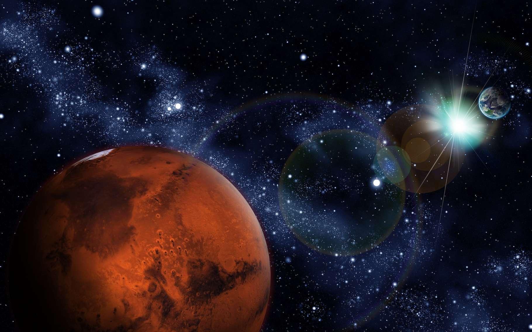 Bientôt, la Terre et Mars se retrouveront de part et d'autre du Soleil. Un moment délicat pour les missions martiennes, un peu coupé du contact avec les ingénieurs qui les opèrent. © Tjefferson, Adobe Stock