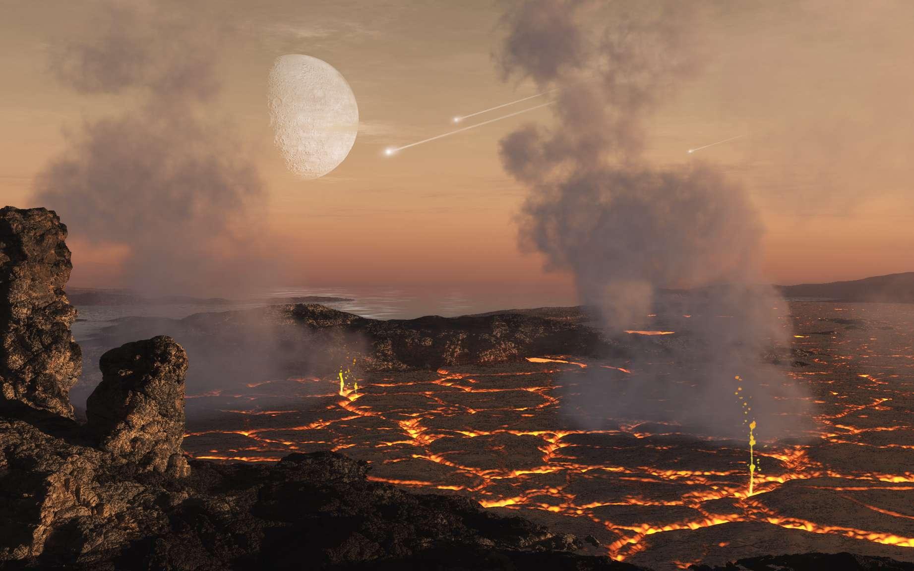 On pense que les premières atmosphères des planètes rocheuses se forment principalement à partir de gaz libérés de la surface de la planète à la suite de l'échauffement intense lors de l'accrétion des blocs de construction planétaires et plus tard de l'activité volcanique au début du développement de la planète. © Illustration par Dan Durda, Southwest Research Institute