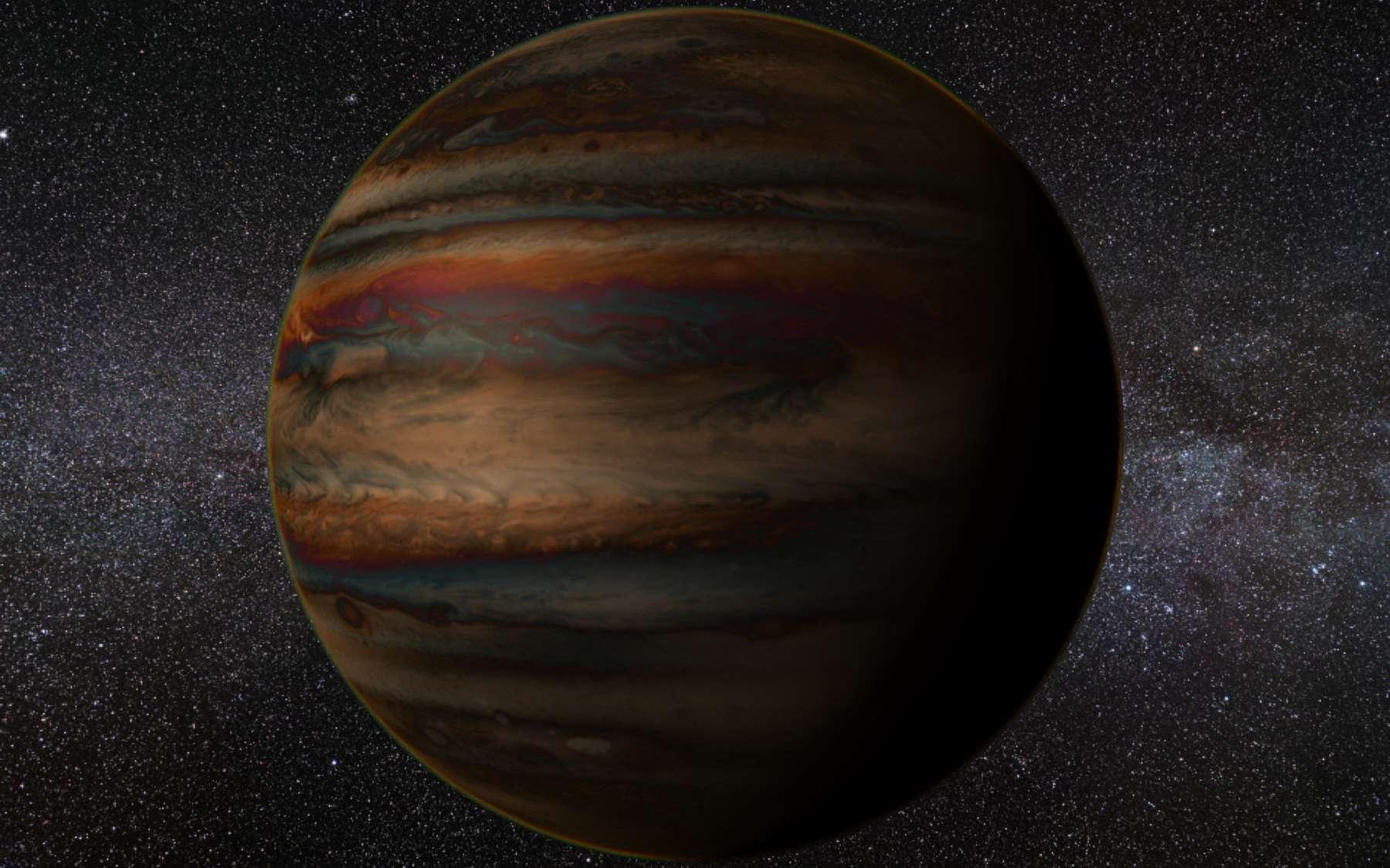 Vue d'artiste d'un Jupiter chaud. Si les premières exoplanètes découvertes étaient des géantes gazeuses plusieurs fois plus massives que Jupiter, aujourd'hui, la détection de planètes telluriques se densifie. © Scientific Exoplanet Renderer