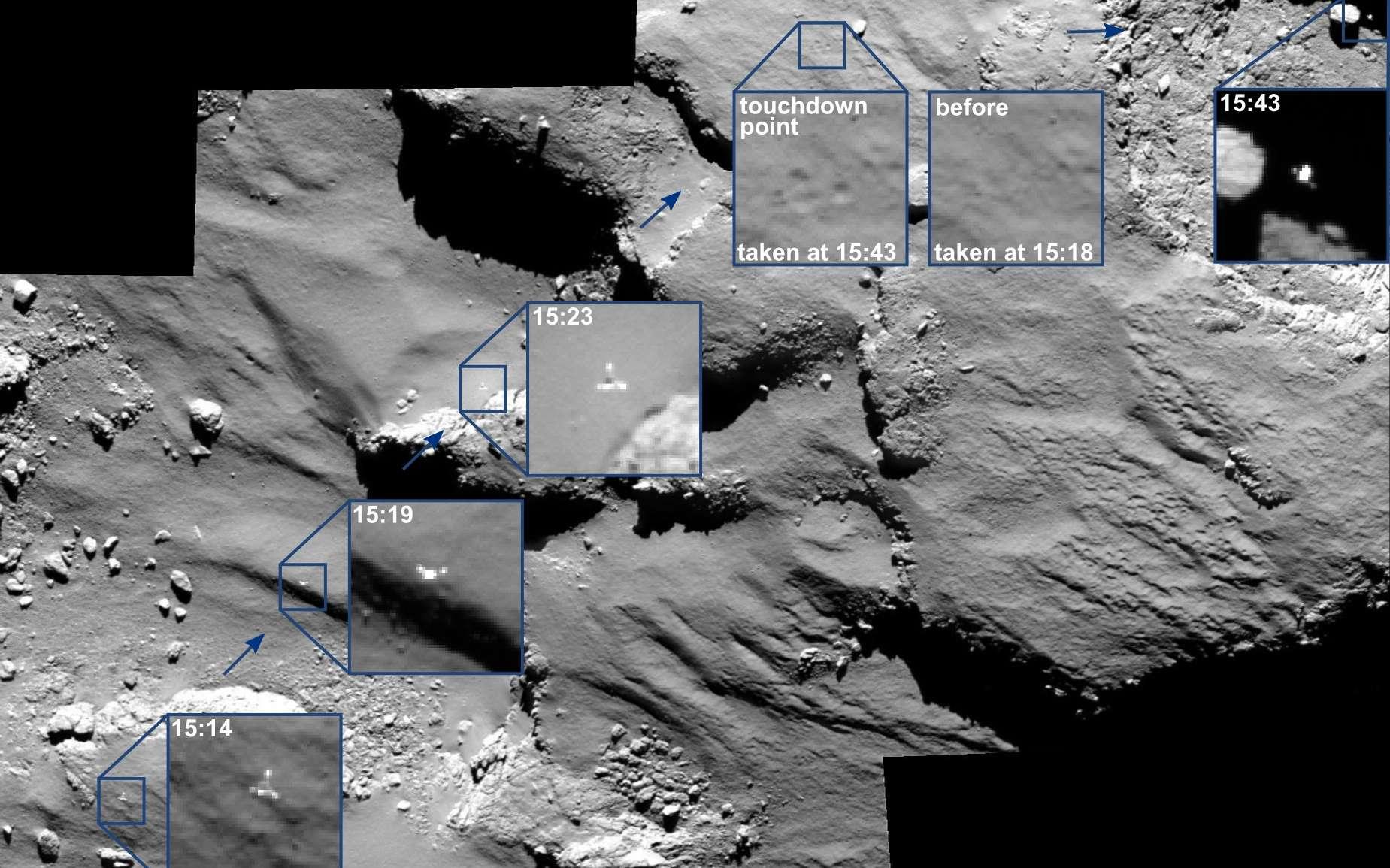 Philae avant et après le premier contact (touchdown) à 15 h35 TU. Rosetta était alors à 17 km du centre de la comète Tchouri. © Esa, Rosetta, MPS for Osiris Team MPS, UPD, LAM, IAA, SSO, INTA, UPM, DASP, IDA