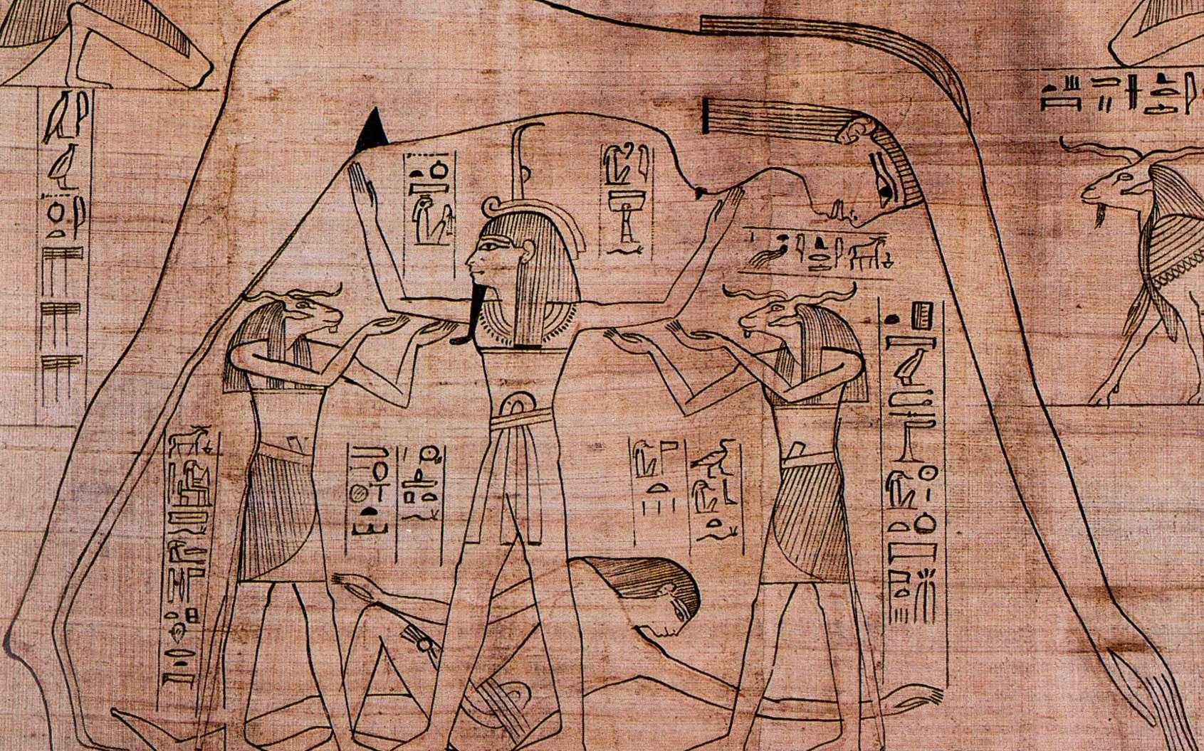 Un détail du papyrus Greenfield représentant les dieux Geb, Nout et Shou. © British Museum