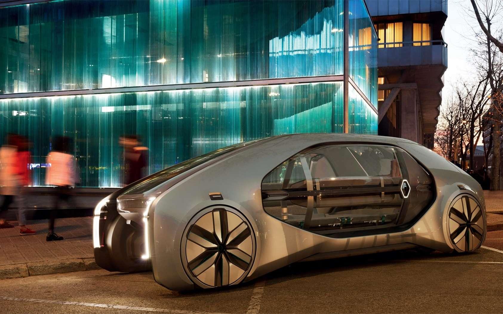 Le concept-car EZ-GO est une navette autonome qui peut accueillir six passagers. © Julien Oppenheim, Renault