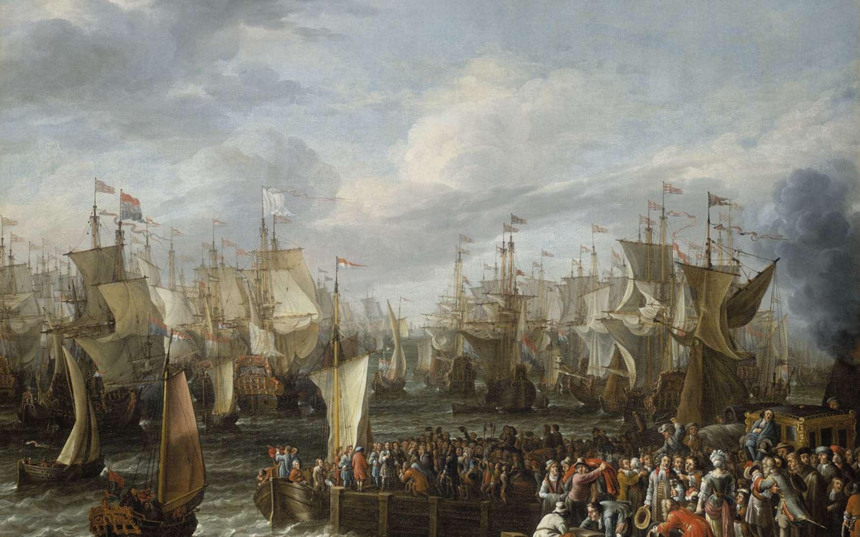 Embarquement de Guillaume d'Orange avec ses partisans pour l'Angleterre, en octobre 1688, depuis le port de Hellevoetsluis en Hollande. © Wikimedia Commons, domaine public