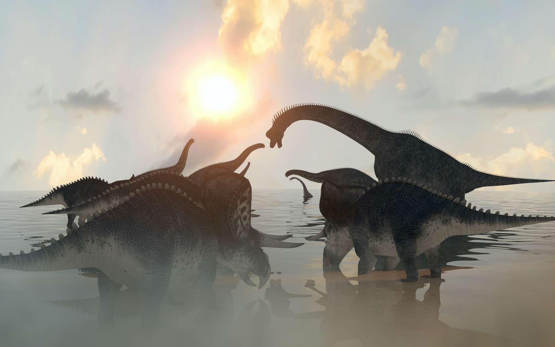 Selon les travaux d'une équipe franco-anglo-canadienne, les grands dinosaures herbivores ont commencé à décliner environ 10 millions d'années avant que la météorite qui mènera à leur extinction heurte notre Terre. En cause, une chute brutale des températures. © denissimonov, Adobe Stock
