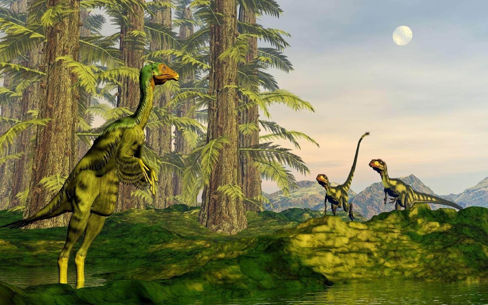 Les chercheurs ont modélisé la course du dinosaure Caudipteryx. © Elenarts, Fotolia