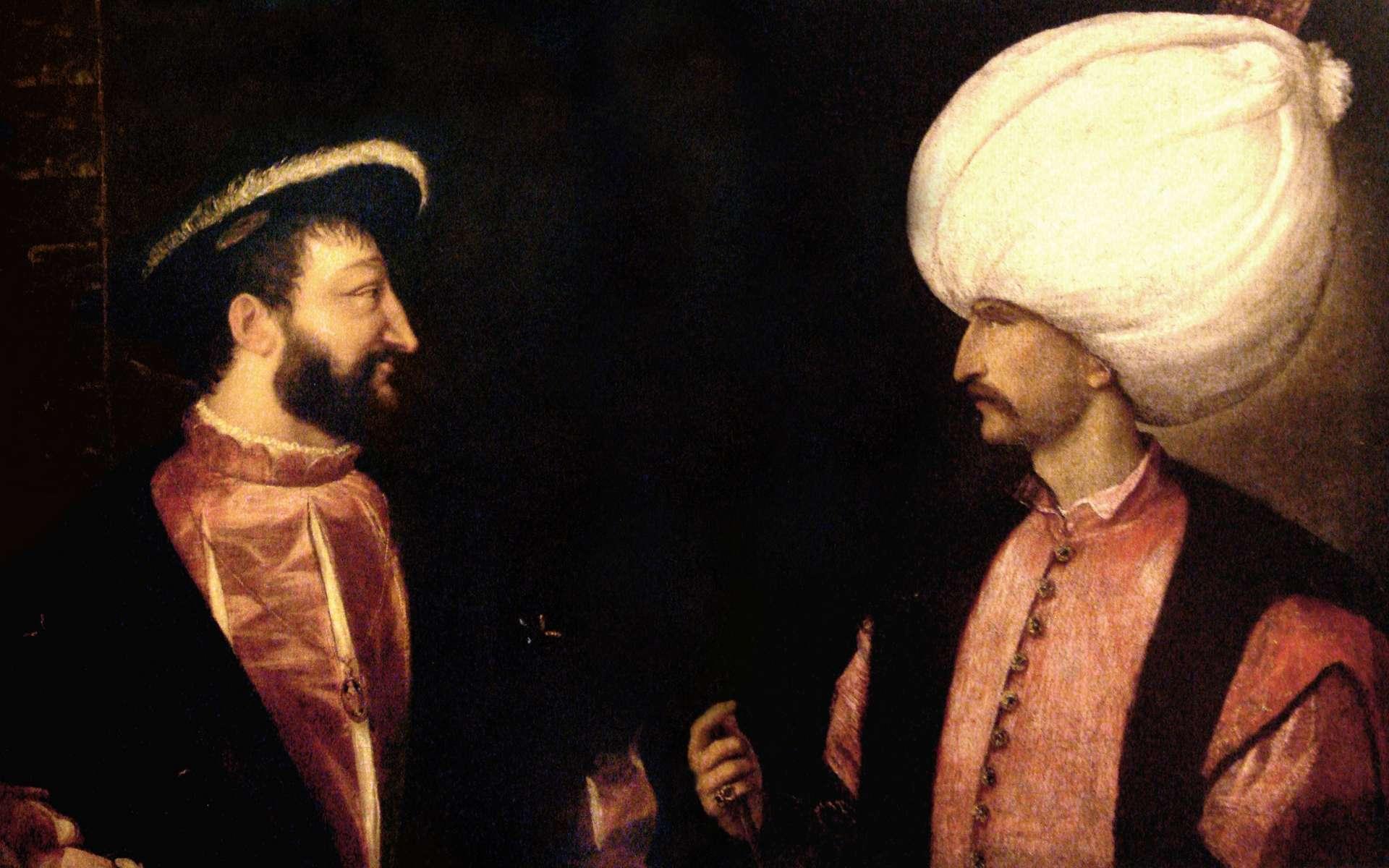 Portraits juxtaposés de François Ier et Soliman le Magnifique, réalisés séparément par Le Titien, vers 1530. © Wikimedia Commons, domaine public.