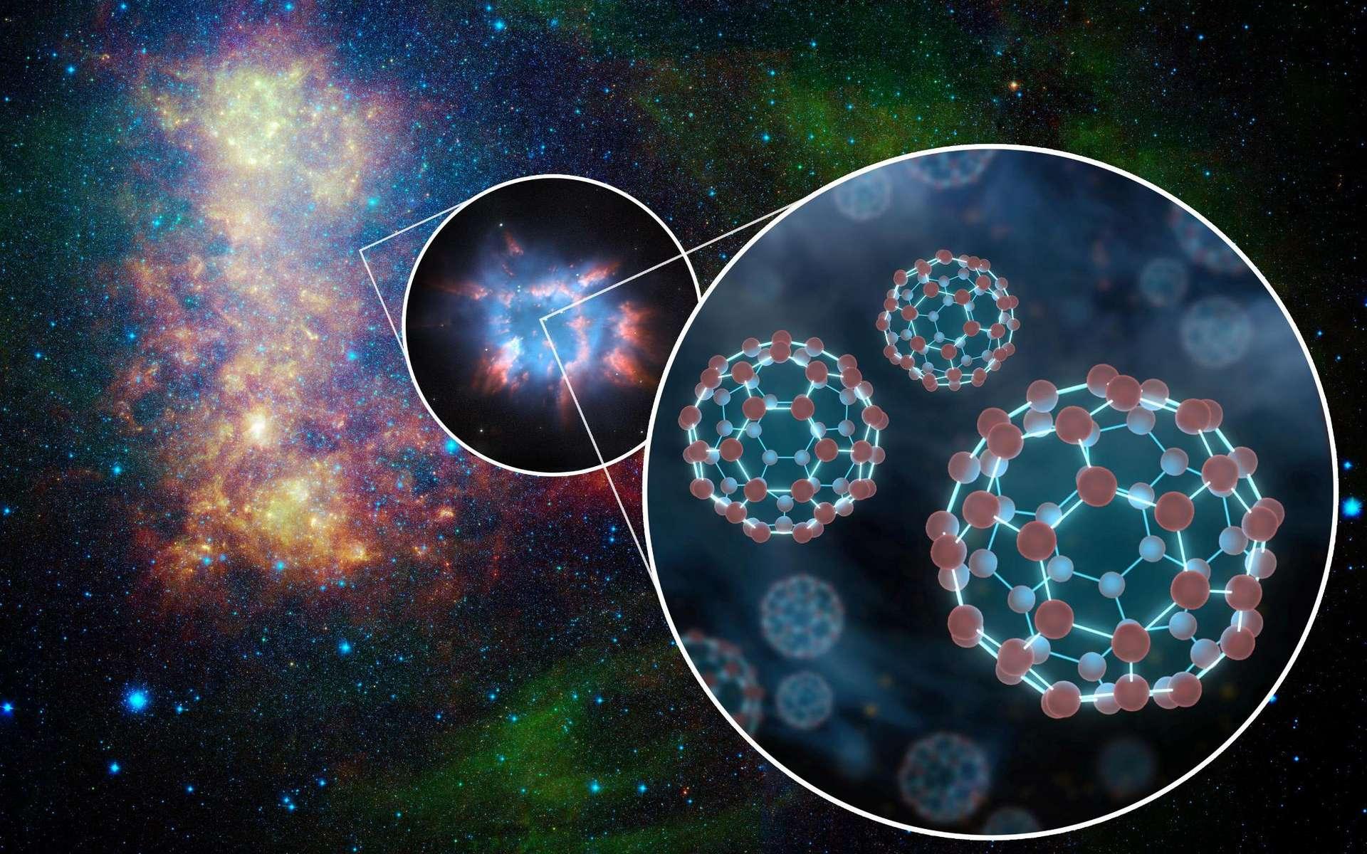 Une vue d'artiste du buckminsterfullerène ionisé par des étoiles dans le milieu interstellaire. © Nasa