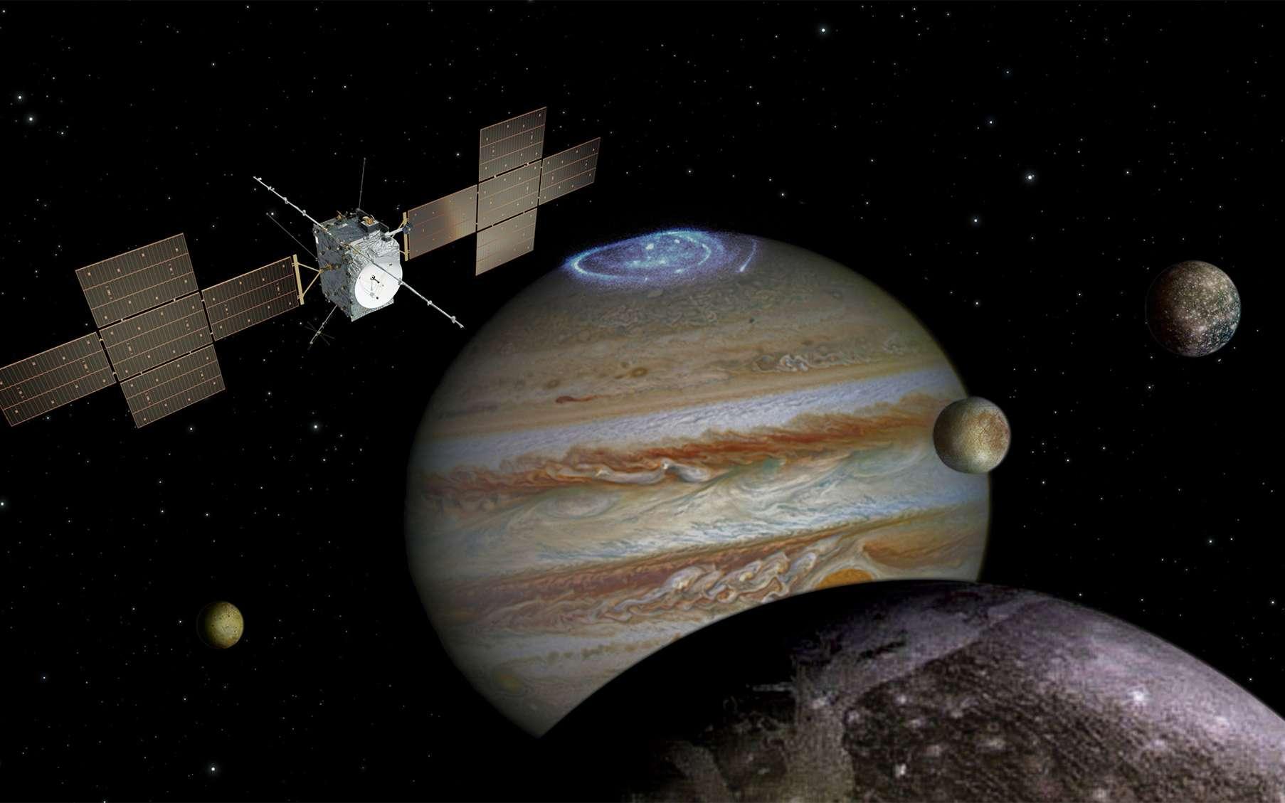 Après la formidable aventure des sondes Voyager, l'exceptionnelle mission de Galileo et en attendant Juno, Juice sera la quatrième sonde à s'intéresser à Jupiter et certains de ses satellites. © ESA, AOES